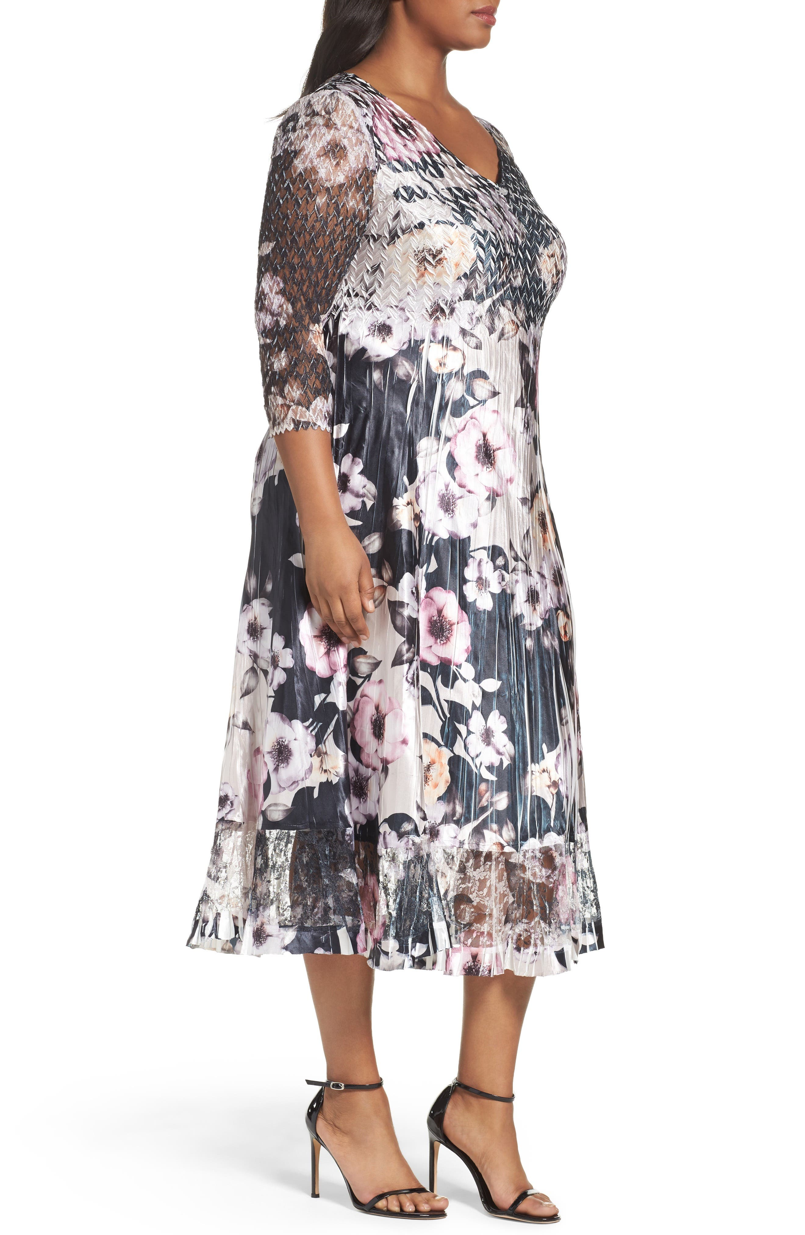 Print Lace & Charmeuse Dress,                             Alternate thumbnail 3, color,                             524