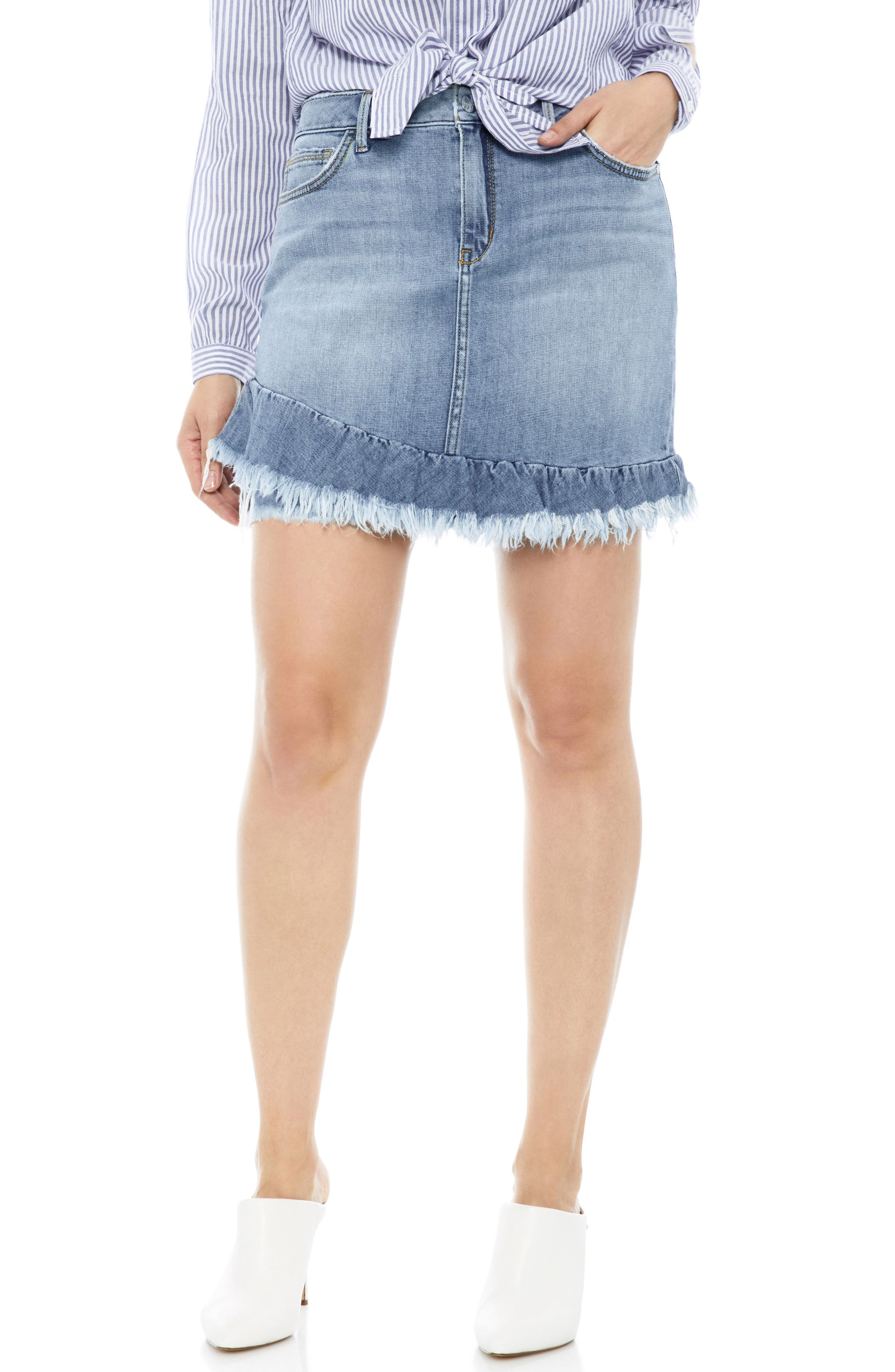 The Karol Asymmetrical Ruffle Hem Stretch Denim Skirt,                             Main thumbnail 1, color,                             450