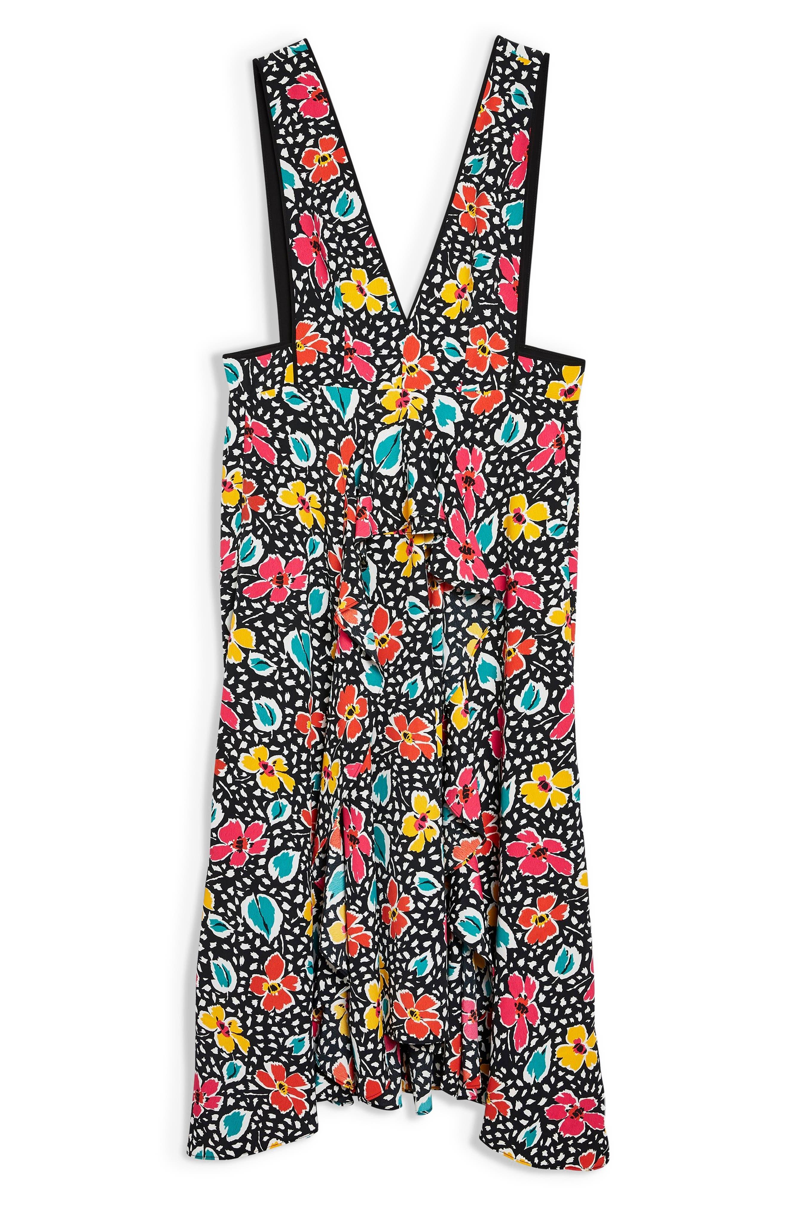 Pinafore Midi Dress,                             Alternate thumbnail 6, color,                             BLACK MULTI