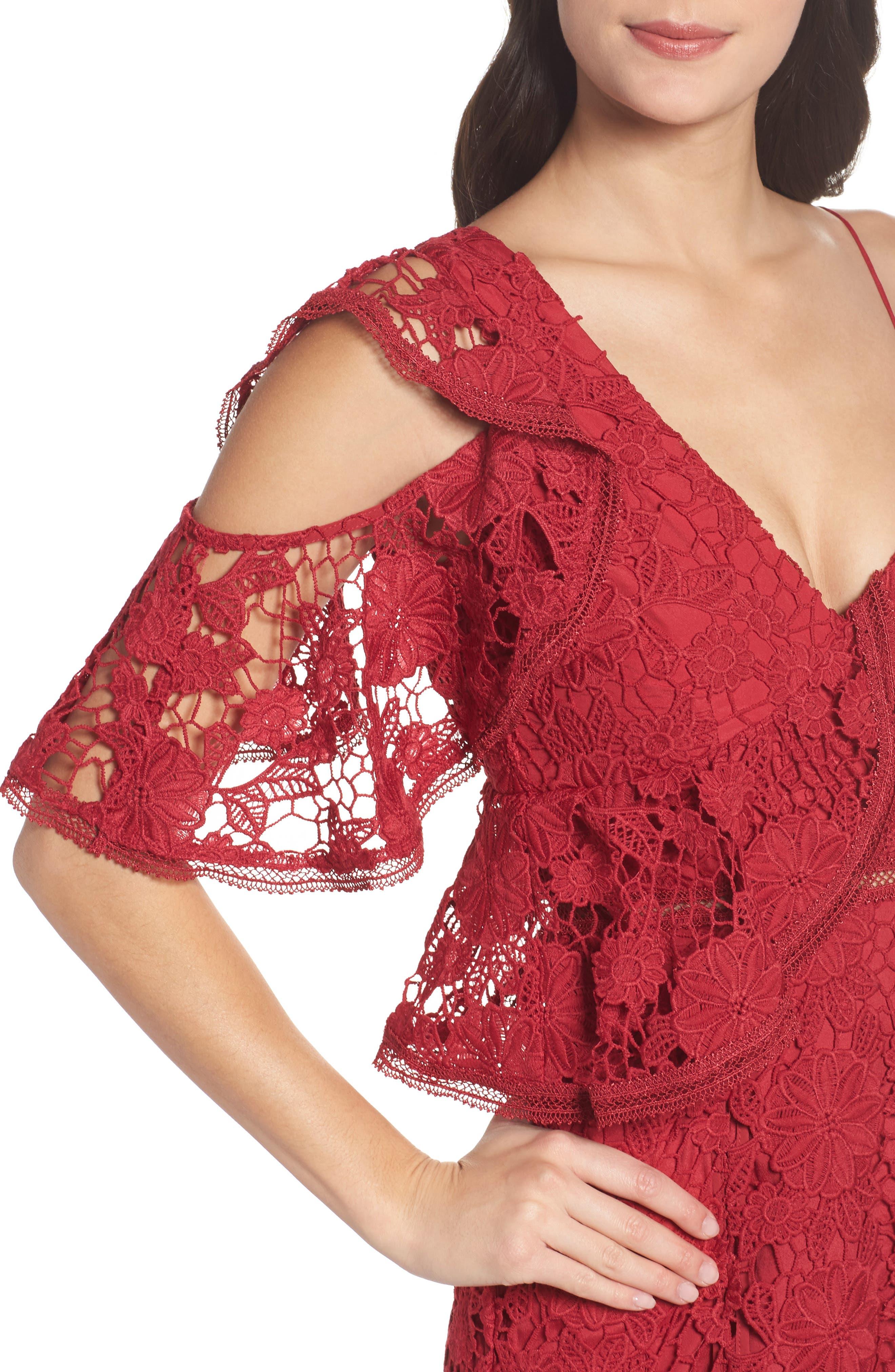 Frameless Ruffle Crochet Gown,                             Alternate thumbnail 4, color,                             621