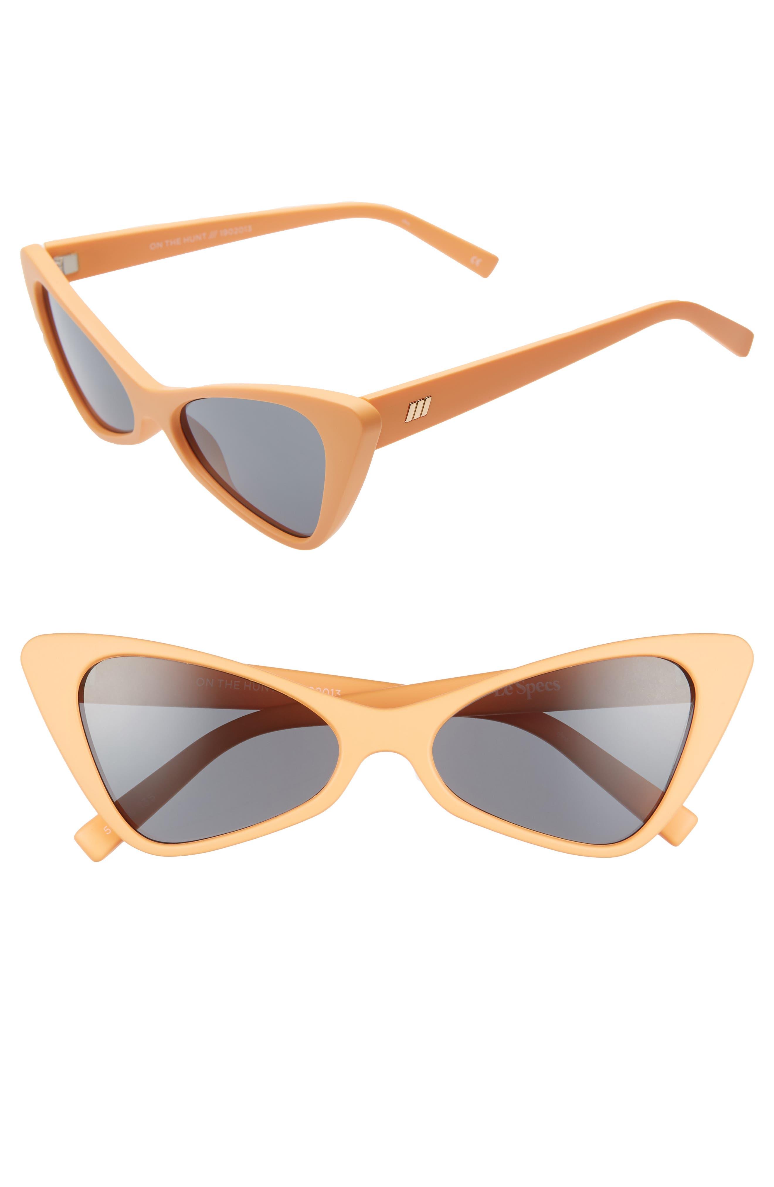 Le Specs On The Hunt 5m Cat Eye Sunglasses - Peach Sherbet/ Smoke