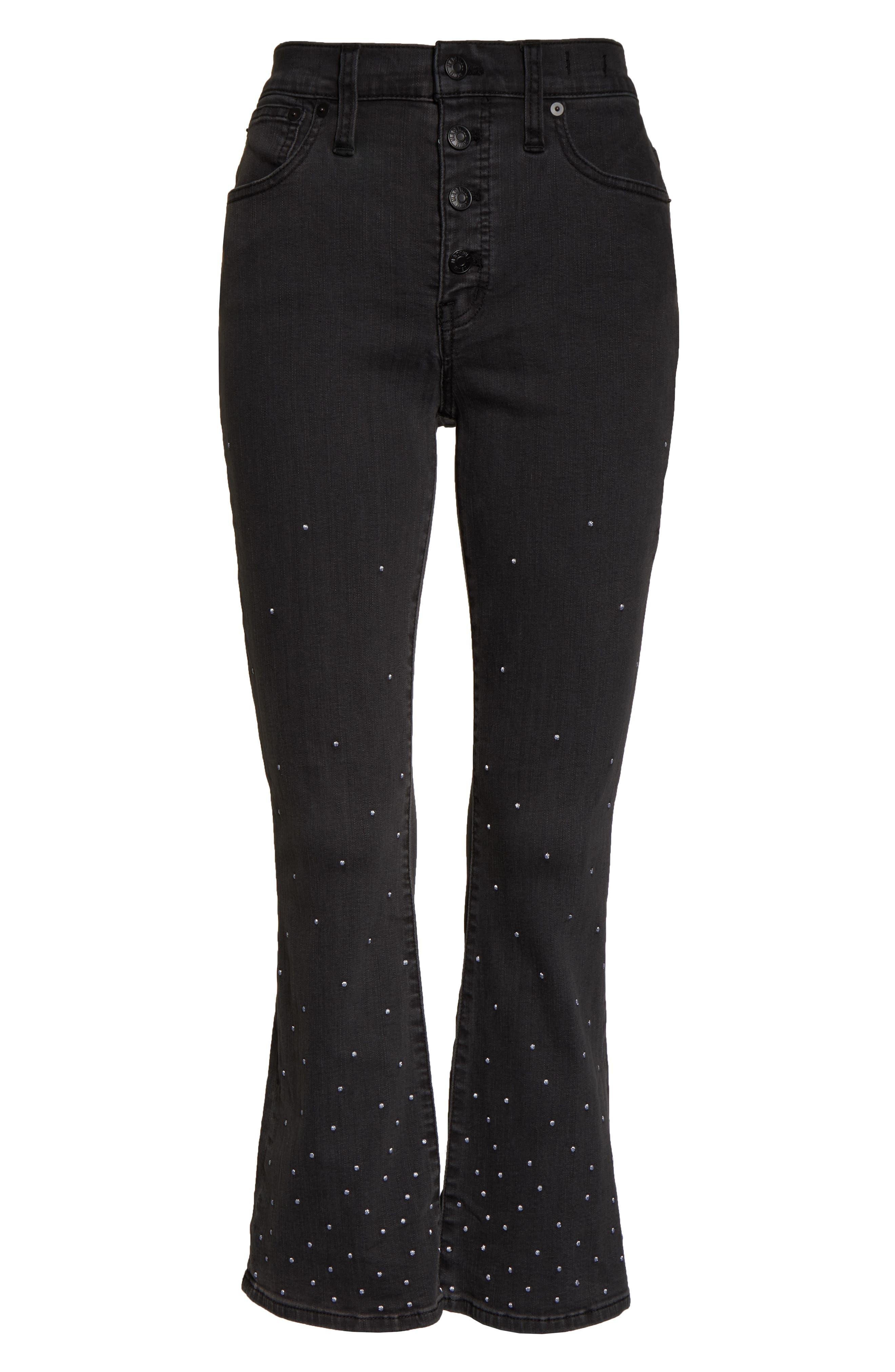 Cali Demi Boot Jeans,                             Alternate thumbnail 4, color,                             SILVER DOTS