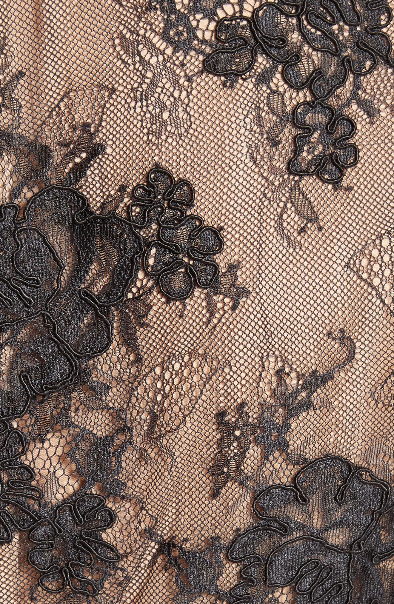 Bell Sleeve Lace Midi Dress,                             Alternate thumbnail 6, color,                             001