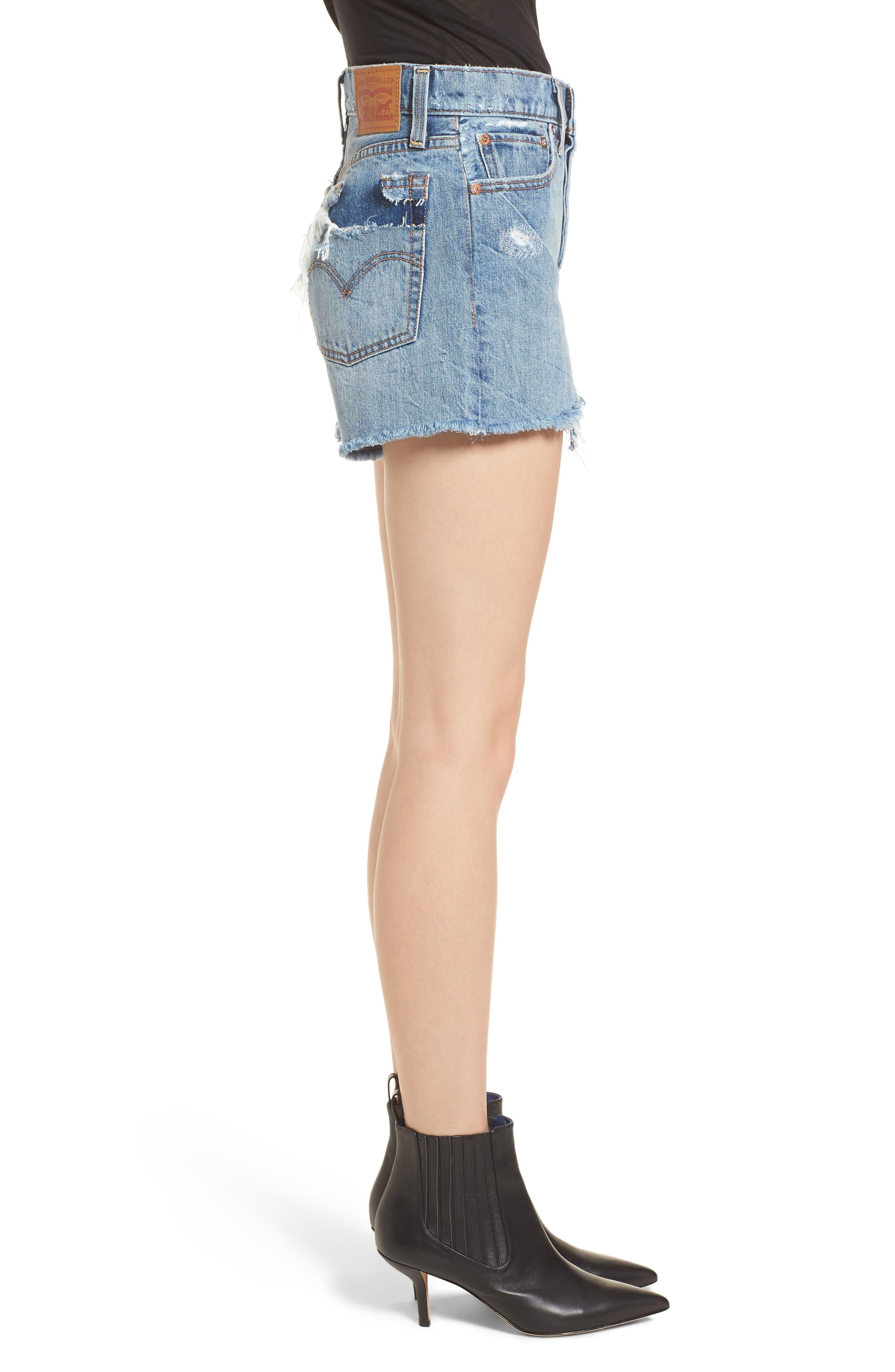 Wedgie High Waist Cutoff Denim Shorts,                             Alternate thumbnail 3, color,                             401