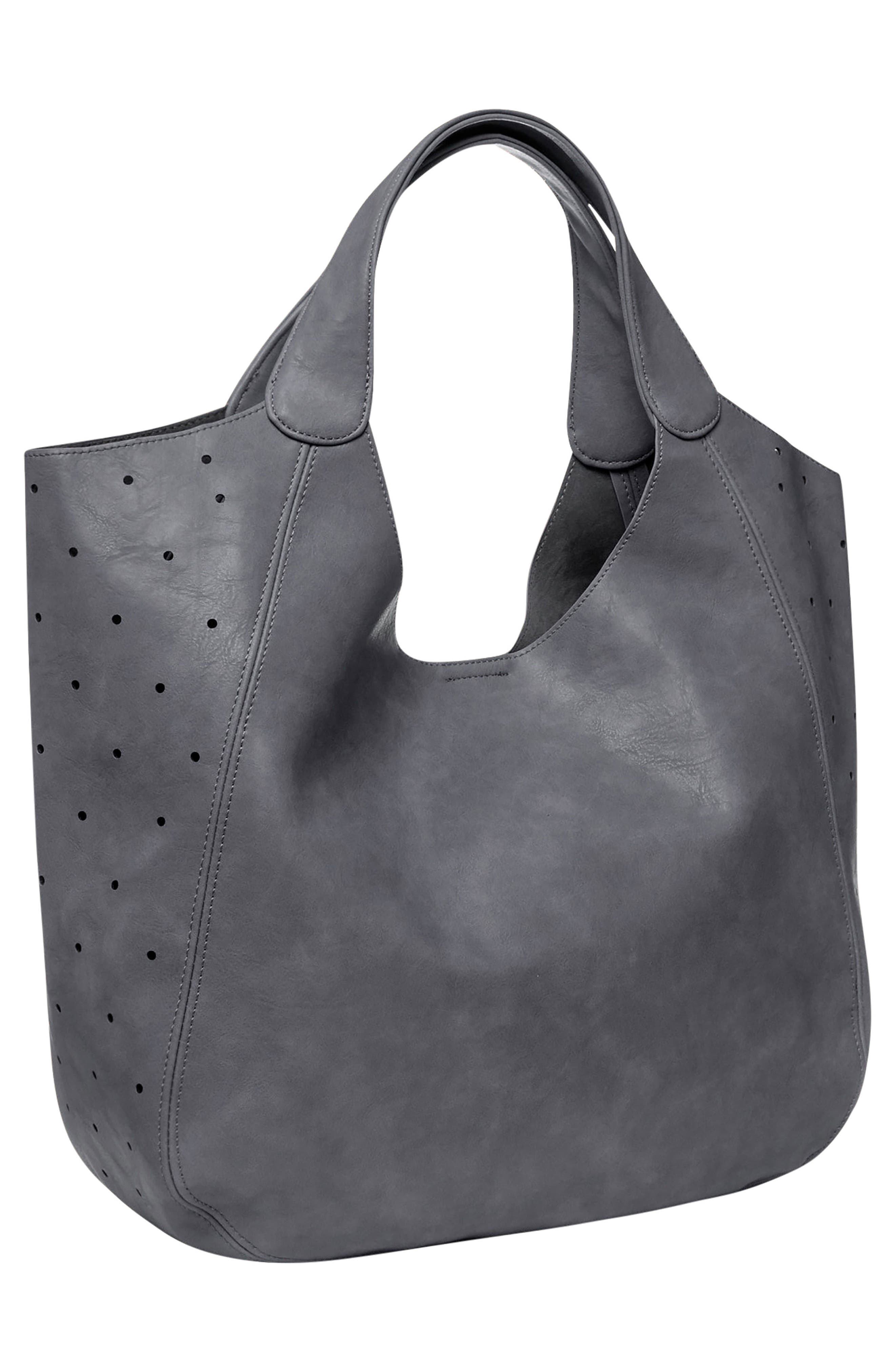 Masterpiece Perforated Vegan Leather Hobo,                             Alternate thumbnail 2, color,                             GREY