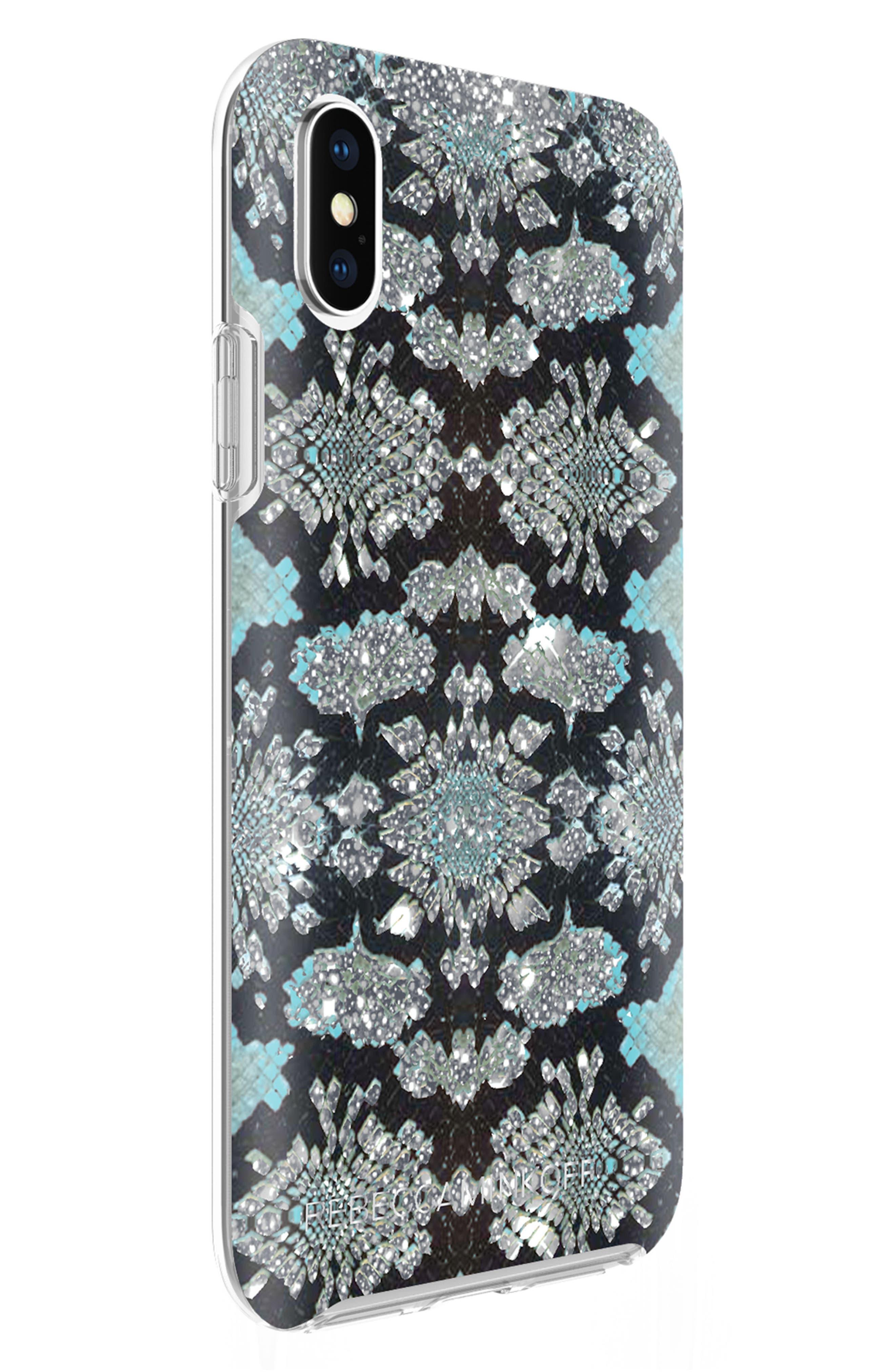 Glitter Snake Print iPhone X Case,                             Alternate thumbnail 2, color,                             001