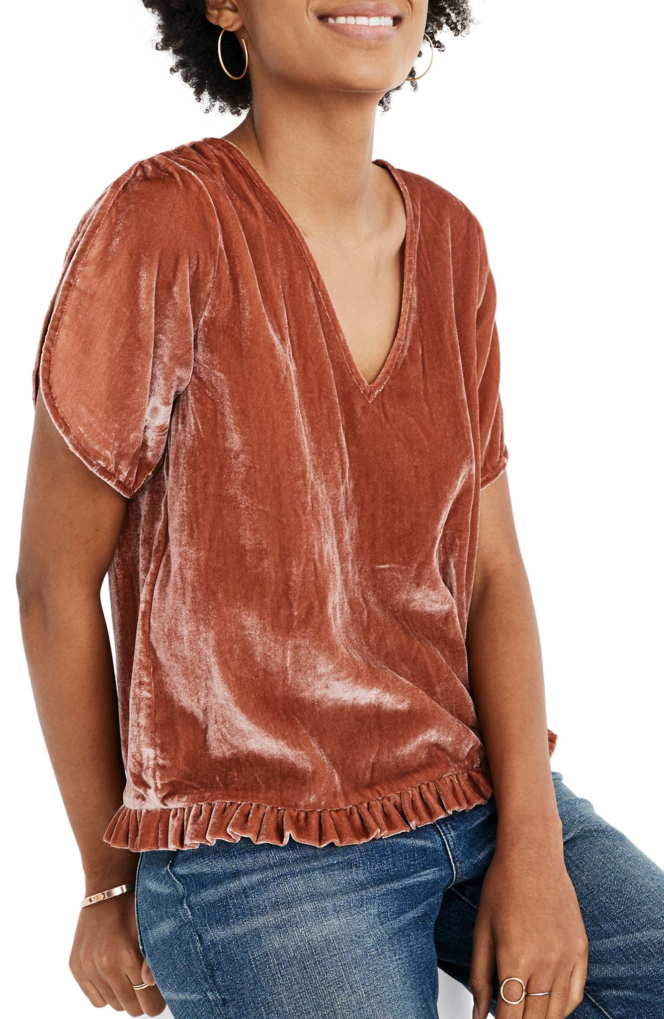Ruffle Tulip Sleeve Velvet Top,                             Alternate thumbnail 4, color,                             AFTERGLOW RED