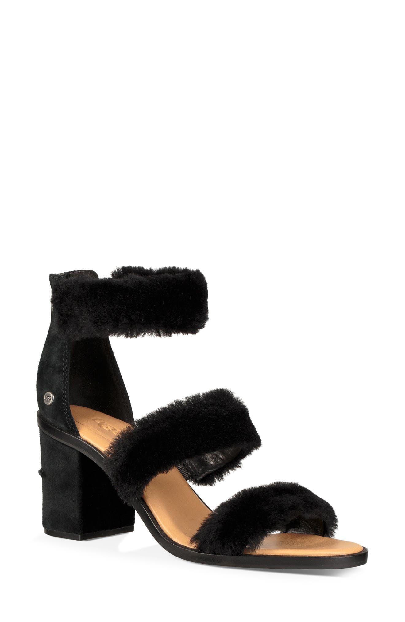 Dey Rey Genuine Shearling Sandal,                             Main thumbnail 1, color,                             BLACK