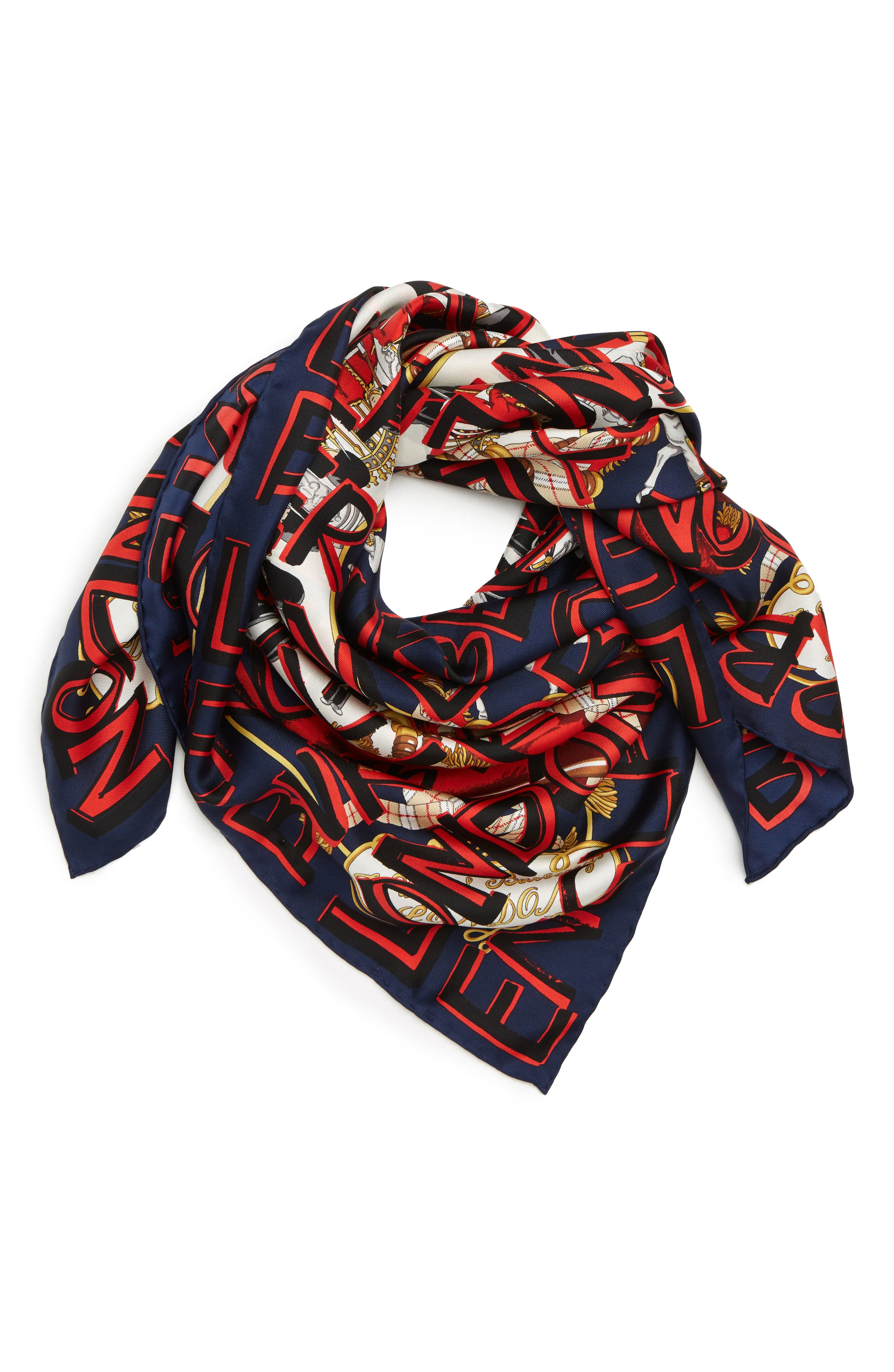 Guards Text Silk Square Scarf,                             Alternate thumbnail 2, color,                             NAVY