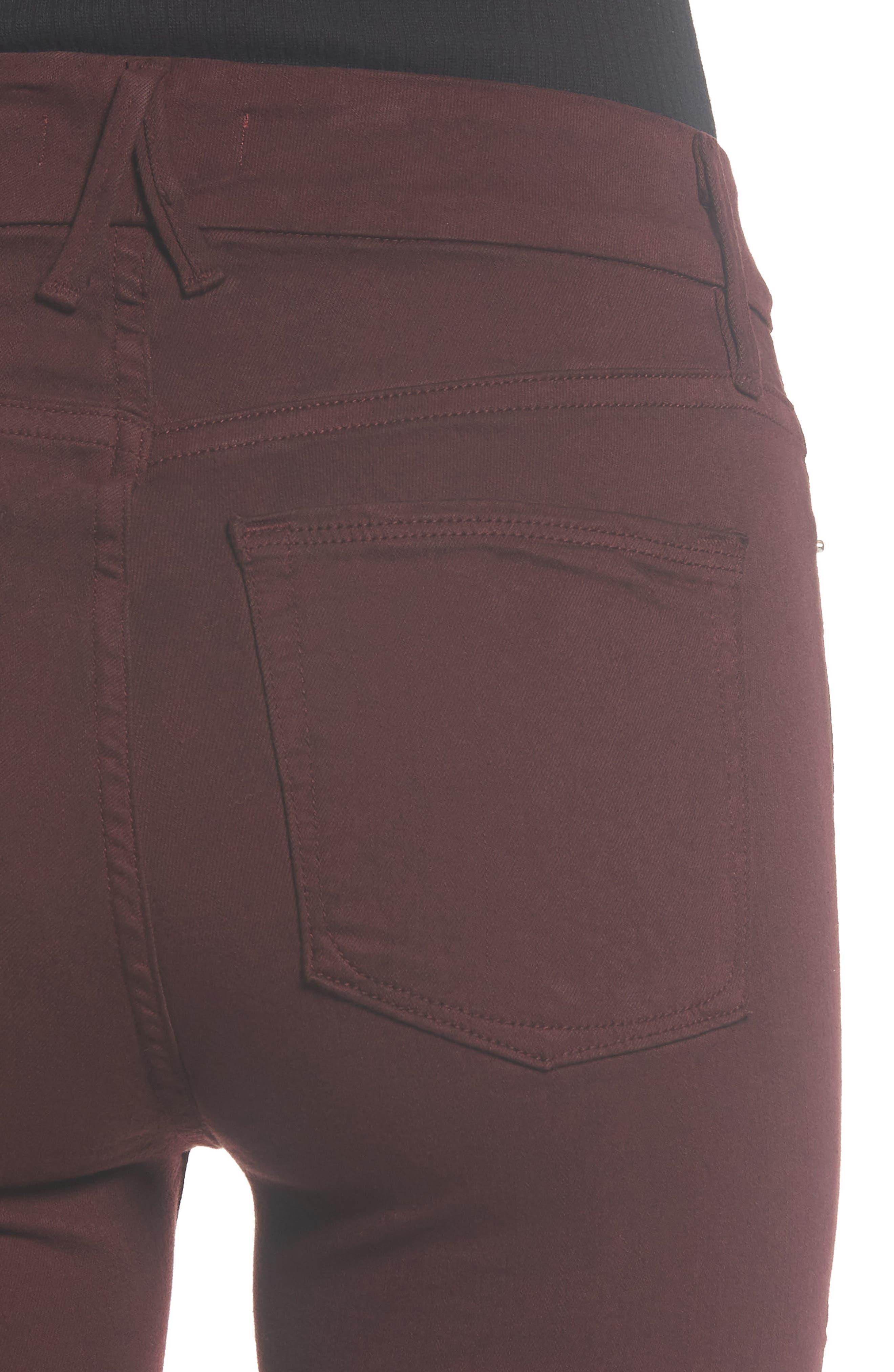 Good Legs High Waist Ankle Skinny Jeans,                             Alternate thumbnail 6, color,                             BURGUNDY 001