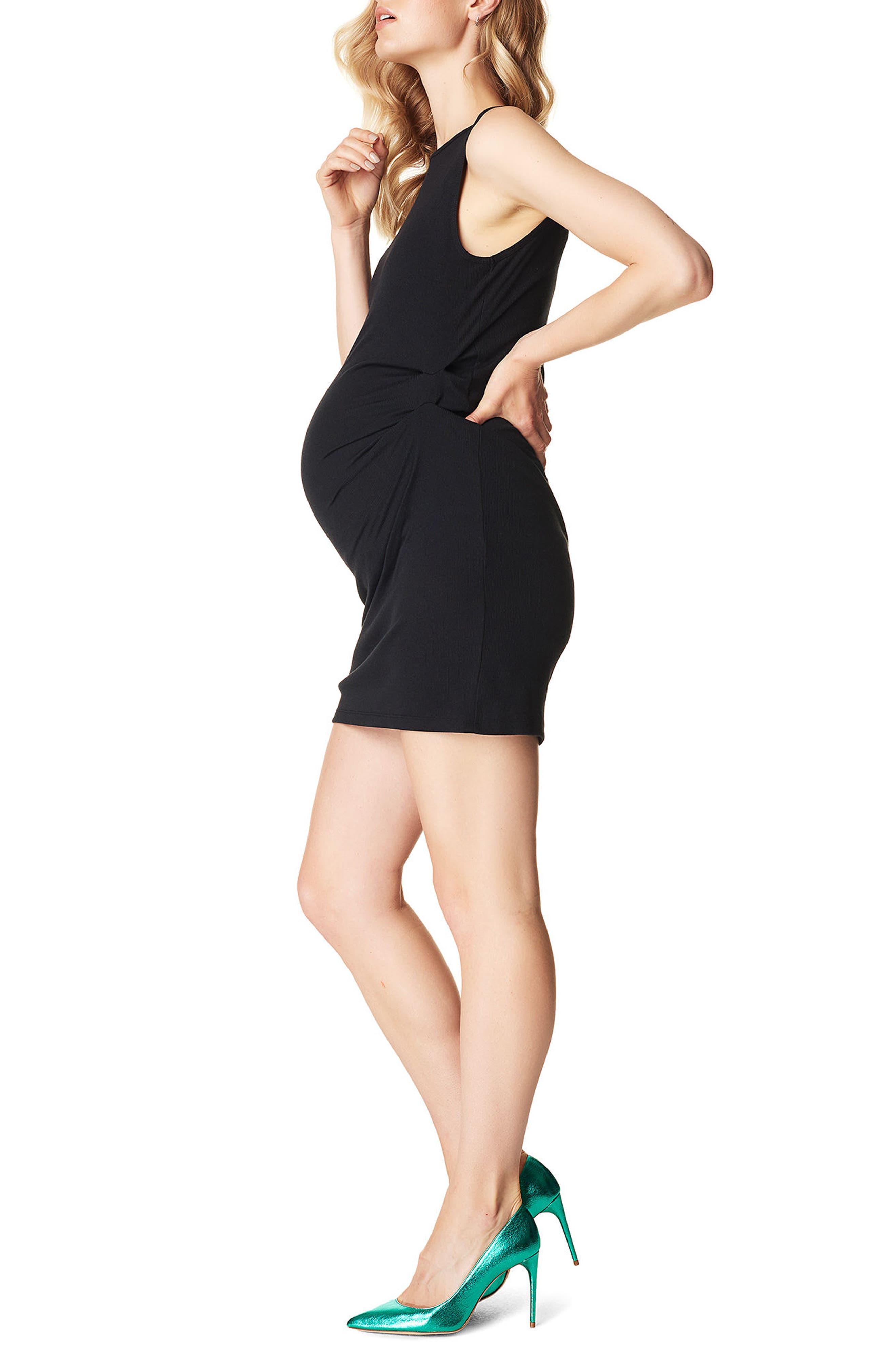 Ribbed Body-Con Maternity Minidress,                             Alternate thumbnail 3, color,                             BLACK