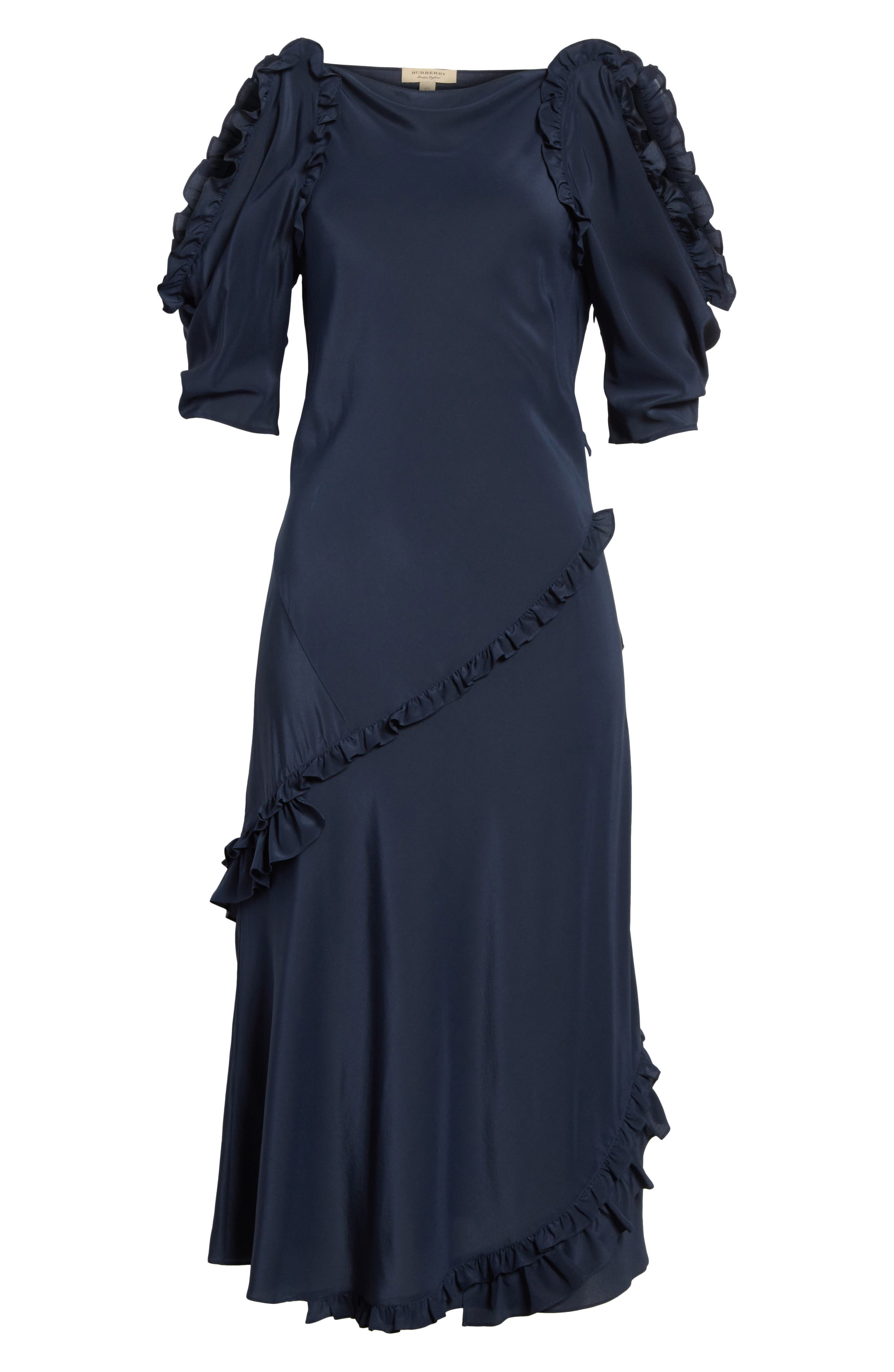 Didi Ruffle Silk Dress,                             Alternate thumbnail 6, color,                             410