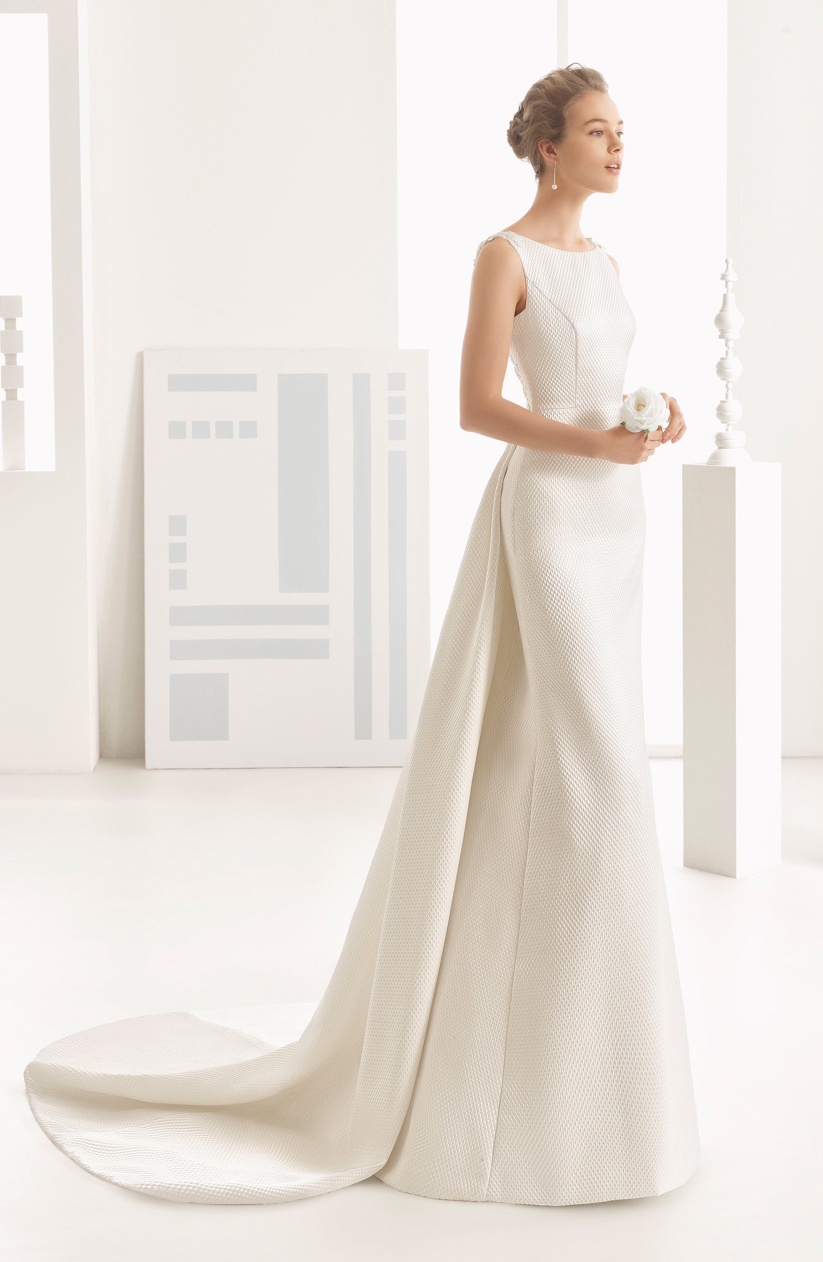Rosa Clará Couture Navas Embellished Piqué Column Gown with Train,                             Alternate thumbnail 4, color,                             NATURAL