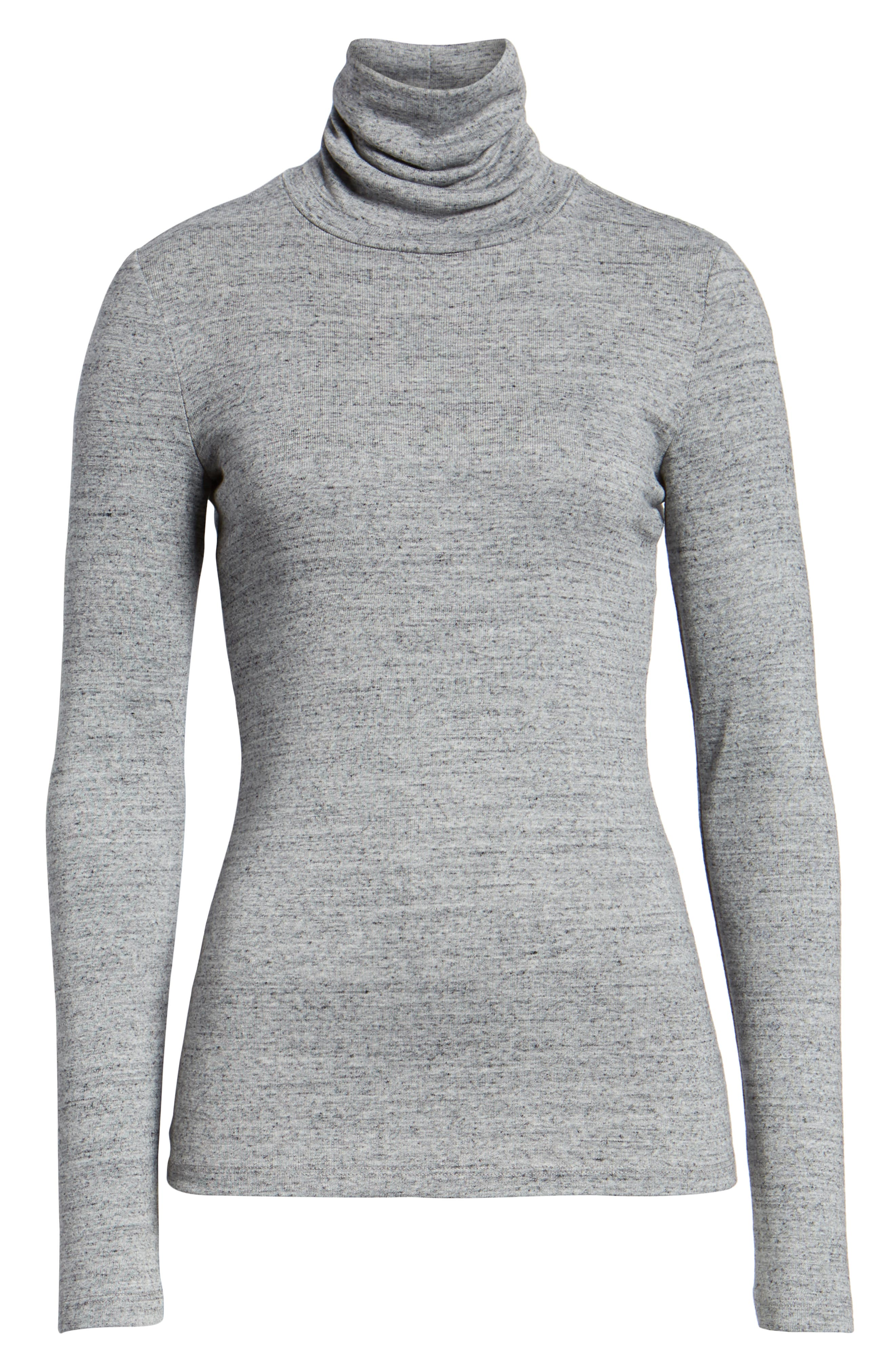 Ribbed Turtleneck,                             Alternate thumbnail 6, color,                             HEATHER GREY