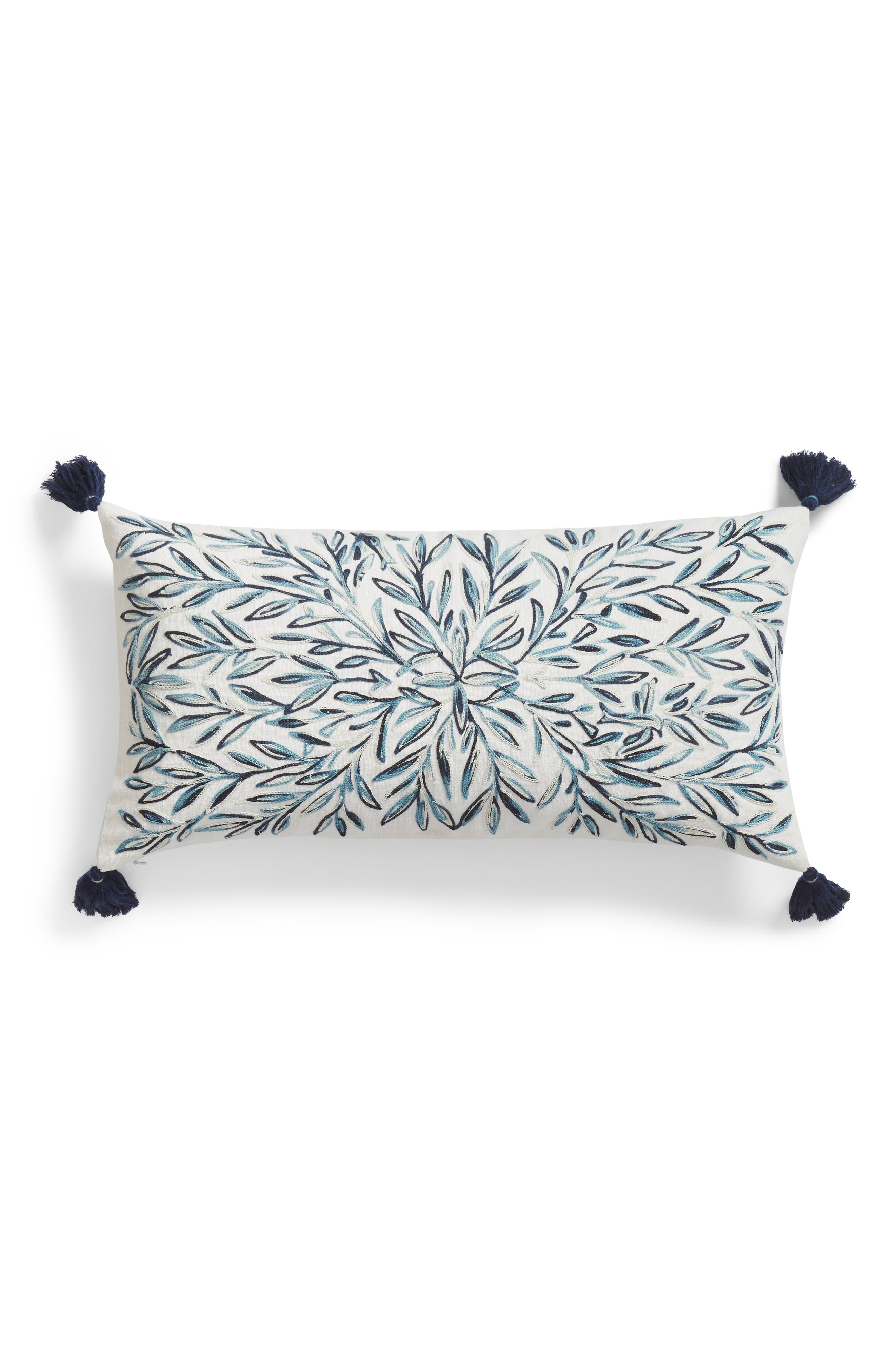 Space Dyed Embroidered Accent Pillow, Main, color, TEAL HYDRO MULTI