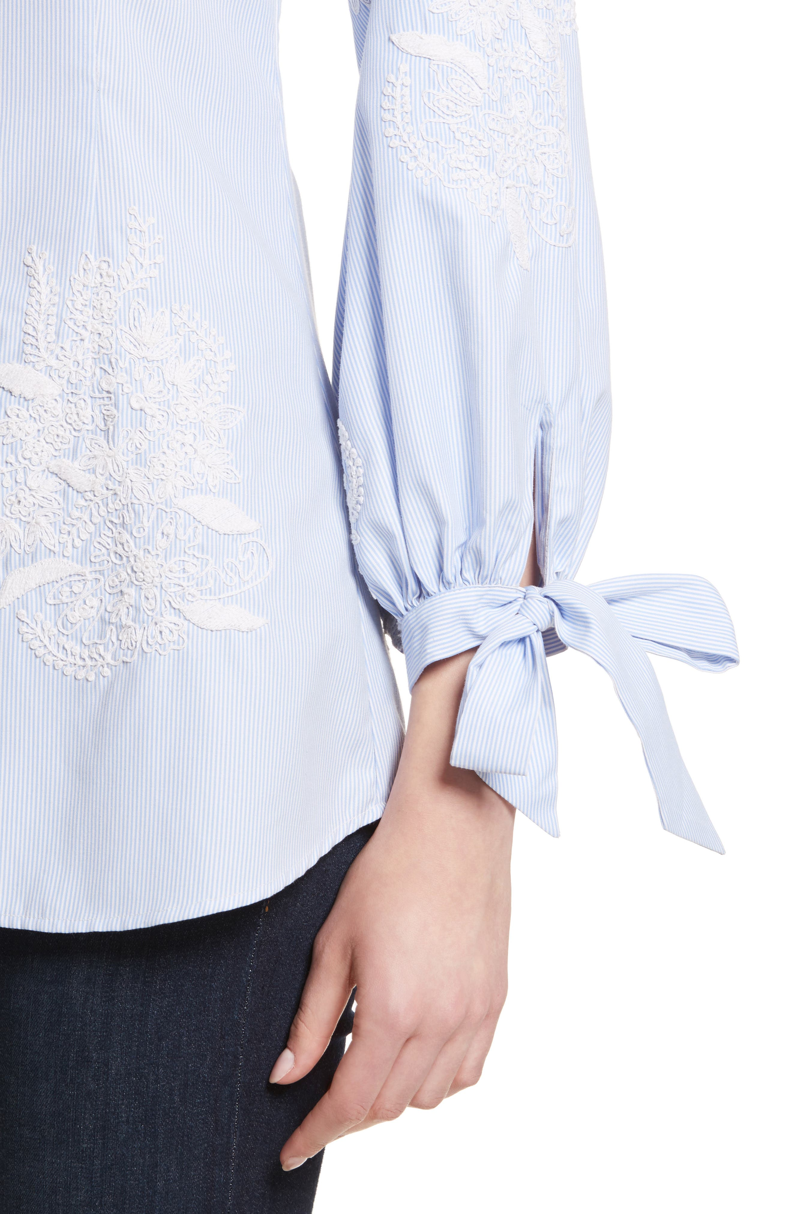 Toro Embroidered Tie Sleeve Blouse,                             Alternate thumbnail 4, color,                             422