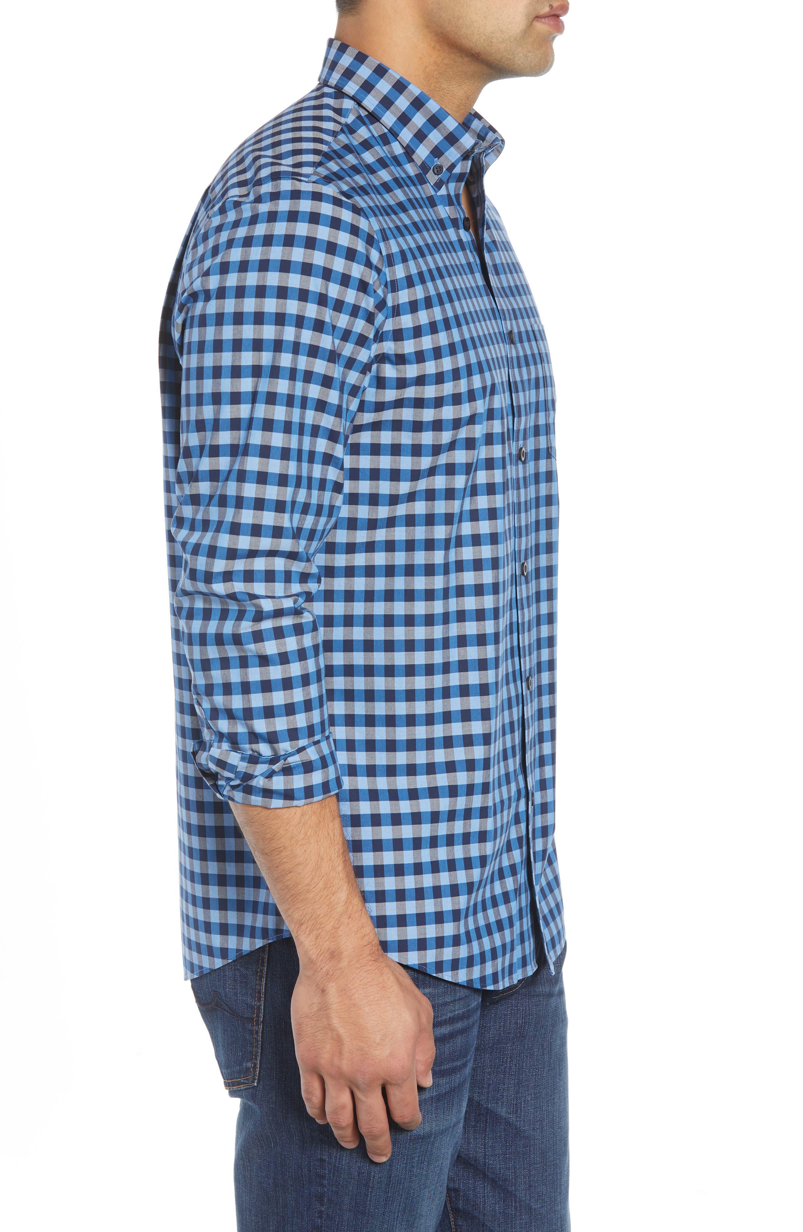 Smartcare<sup>™</sup> Regular Fit Gingham Sport Shirt,                             Alternate thumbnail 3, color,                             BLUE CAMP NAVY GINGHAM