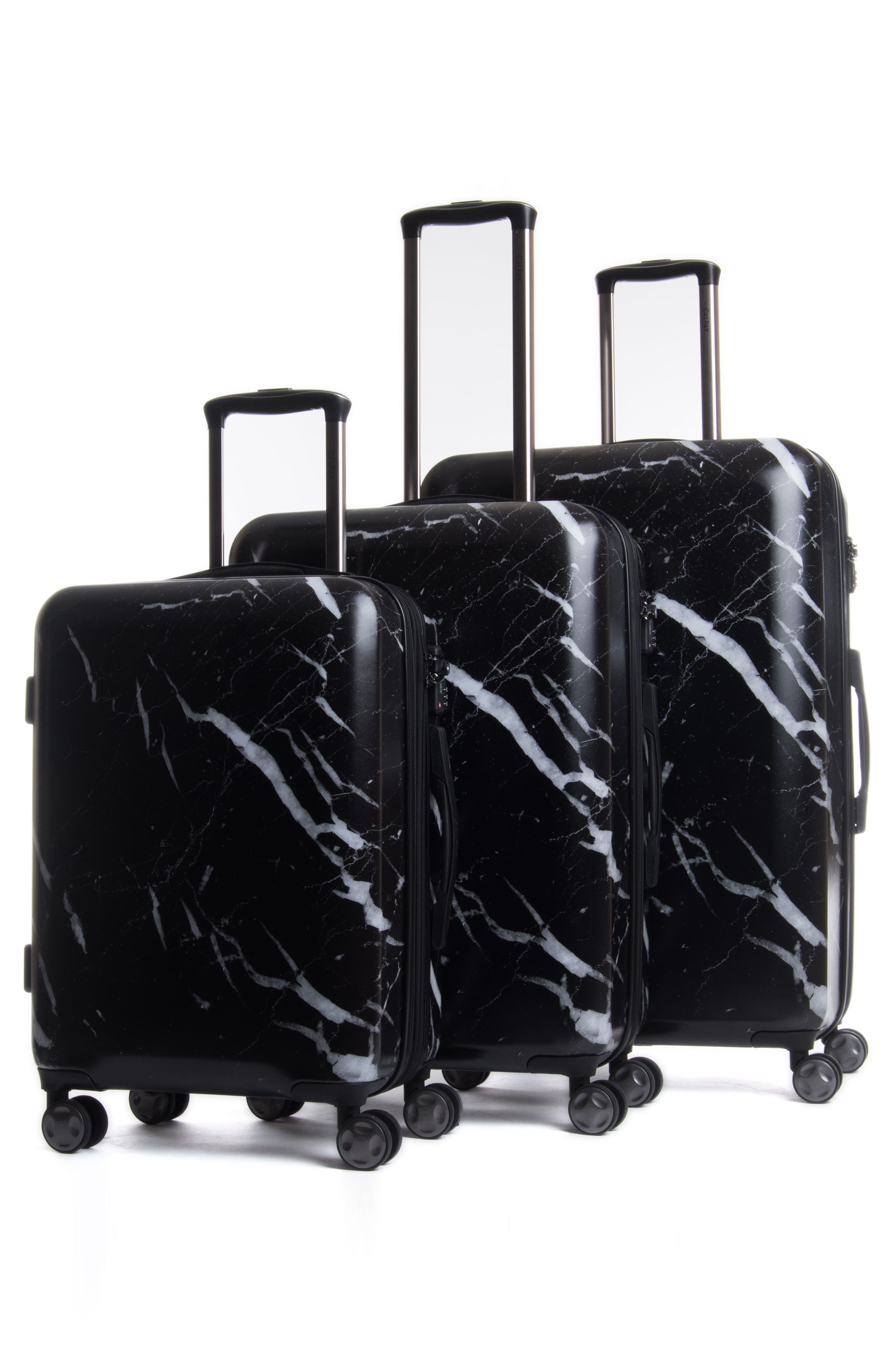 Astyll 3-Piece Marbled Luggage Set,                             Alternate thumbnail 2, color,                             BLACK