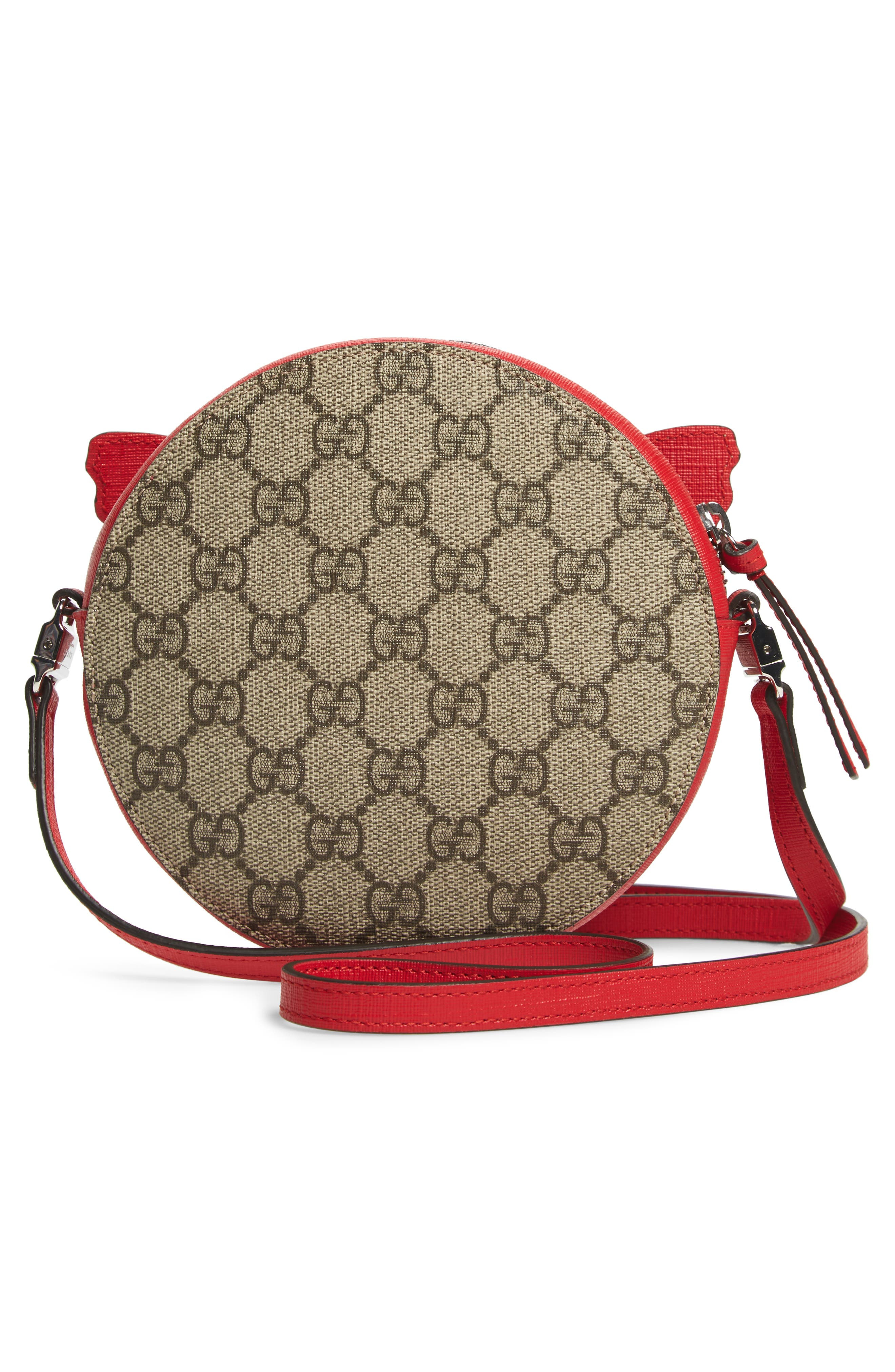 GUCCI,                             GG Supreme Rainbow Butterfly Crossbody Bag,                             Alternate thumbnail 2, color,                             BROWN MULTI