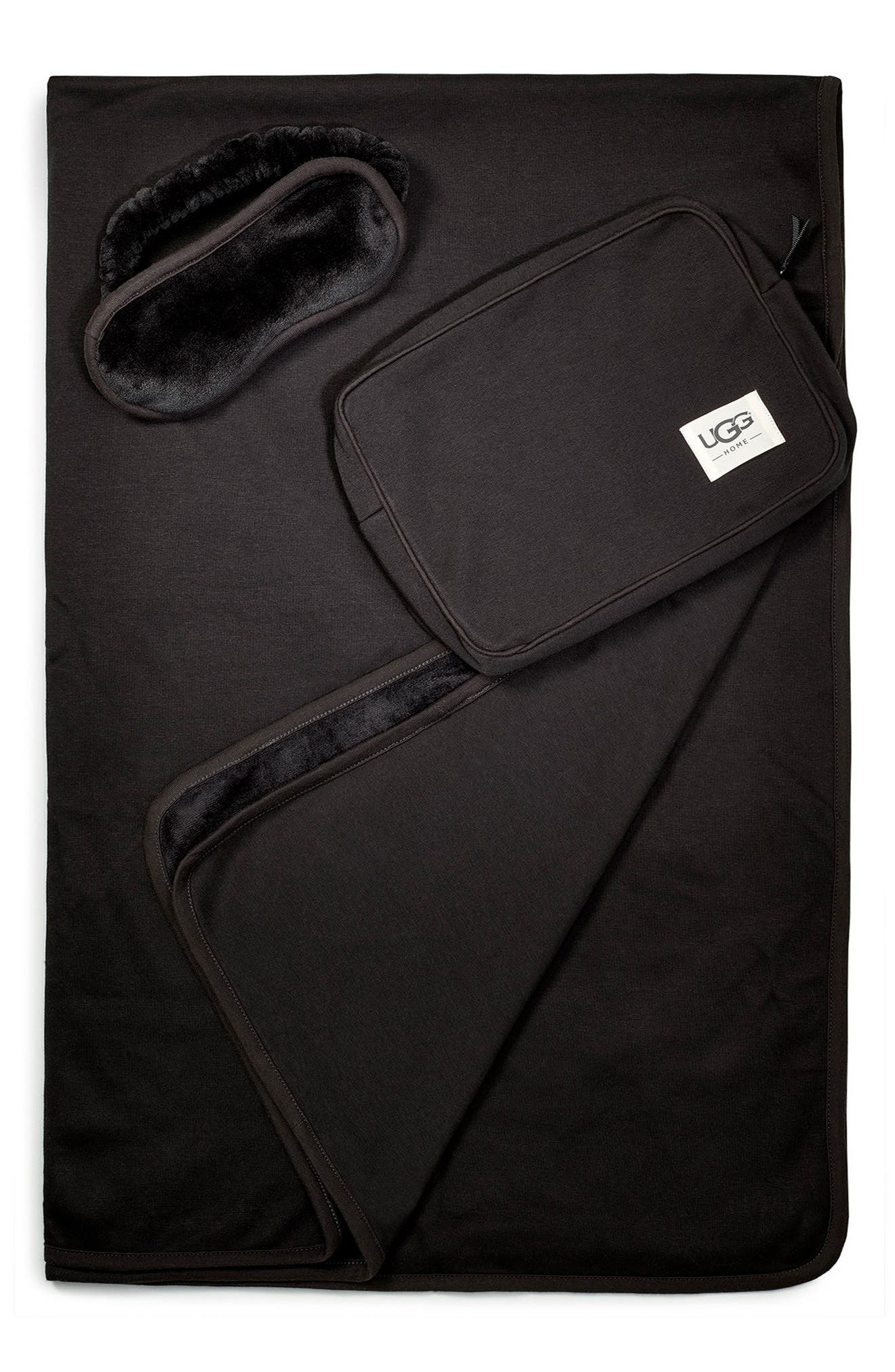 UGG<SUP>®</SUP> Duffield Eye Mask, Pouch & Blanket Travel Set, Main, color, BLACK