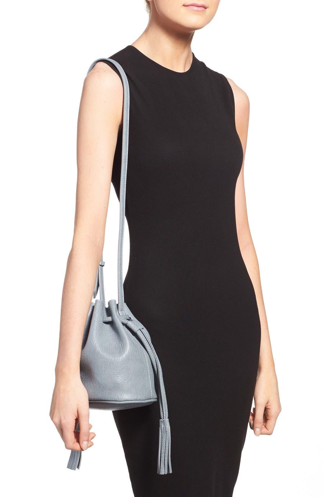 Mini Faux Leather Tassel Bucket Bag,                             Alternate thumbnail 20, color,