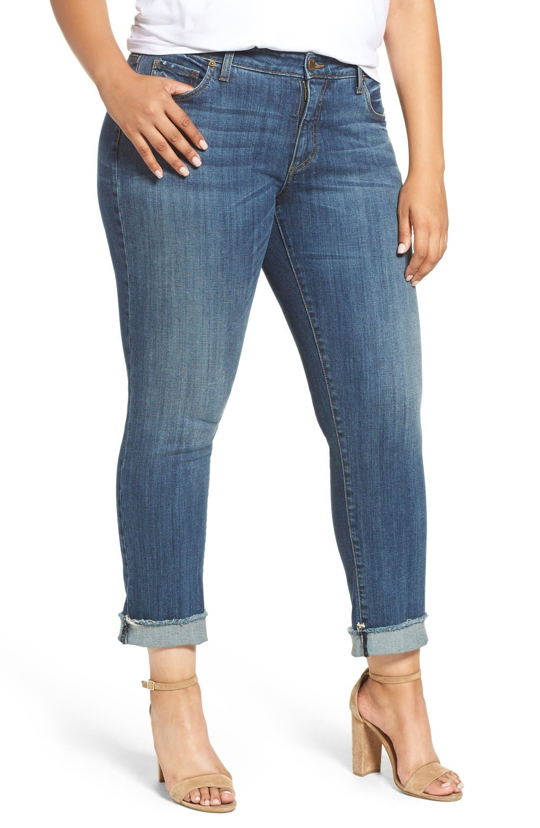 Stretch Roll Cuff Ankle Jeans,                             Main thumbnail 1, color,