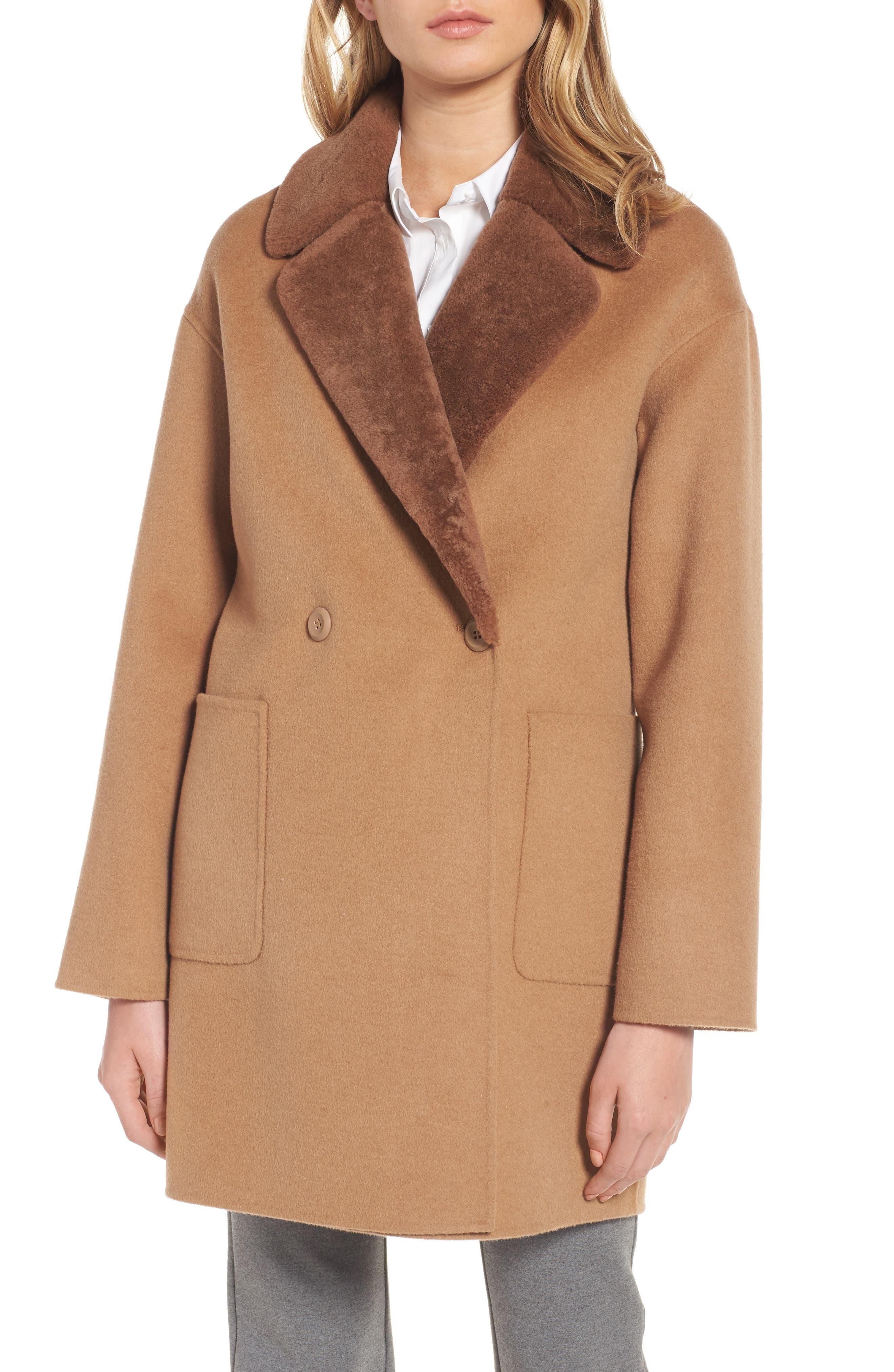 Dawn Genuine Shearling Collar Double Face Coat,                             Main thumbnail 2, color,