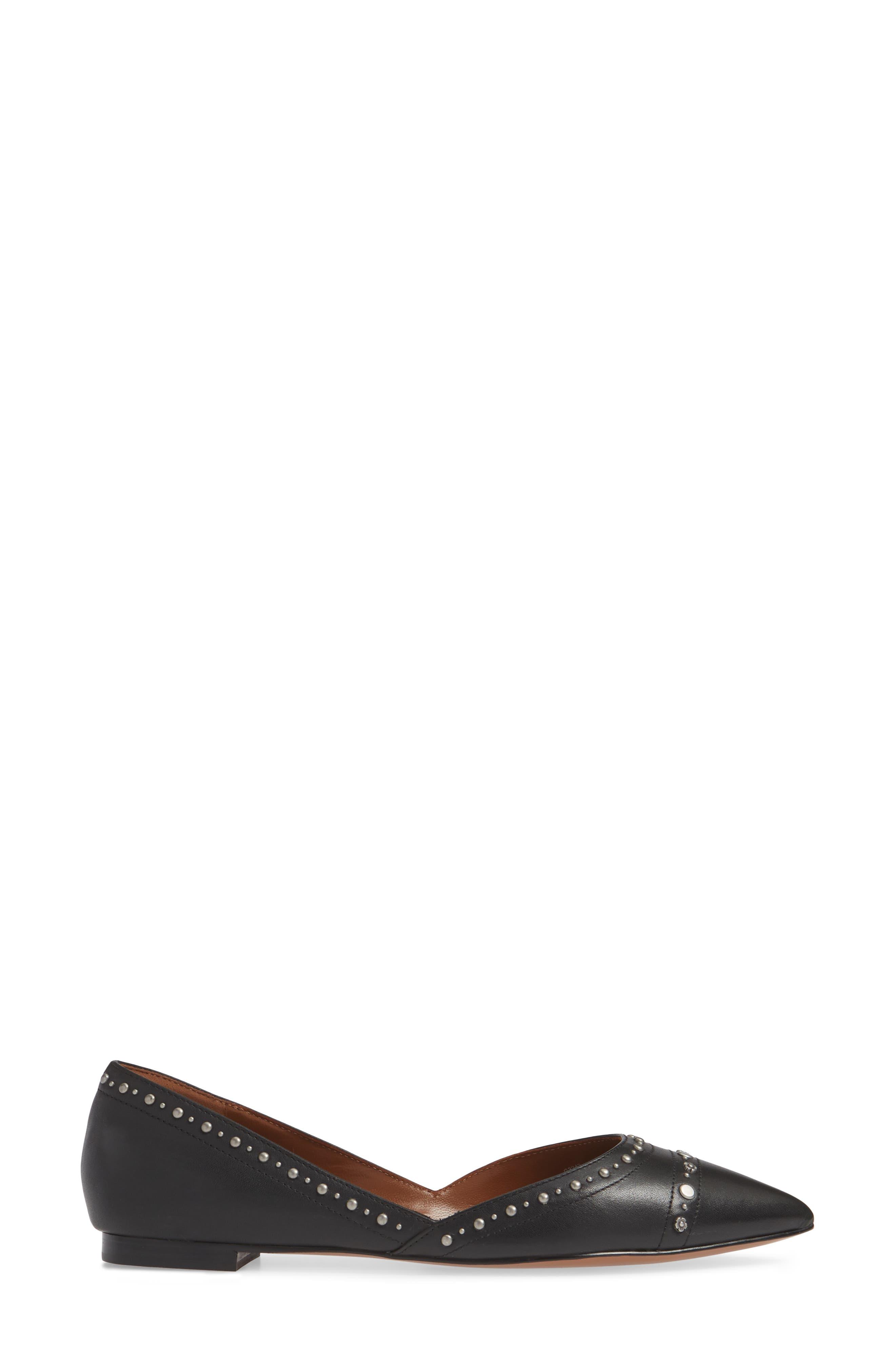 Valintina Pointed Toe Flat,                             Alternate thumbnail 3, color,                             BLACK LEATHER