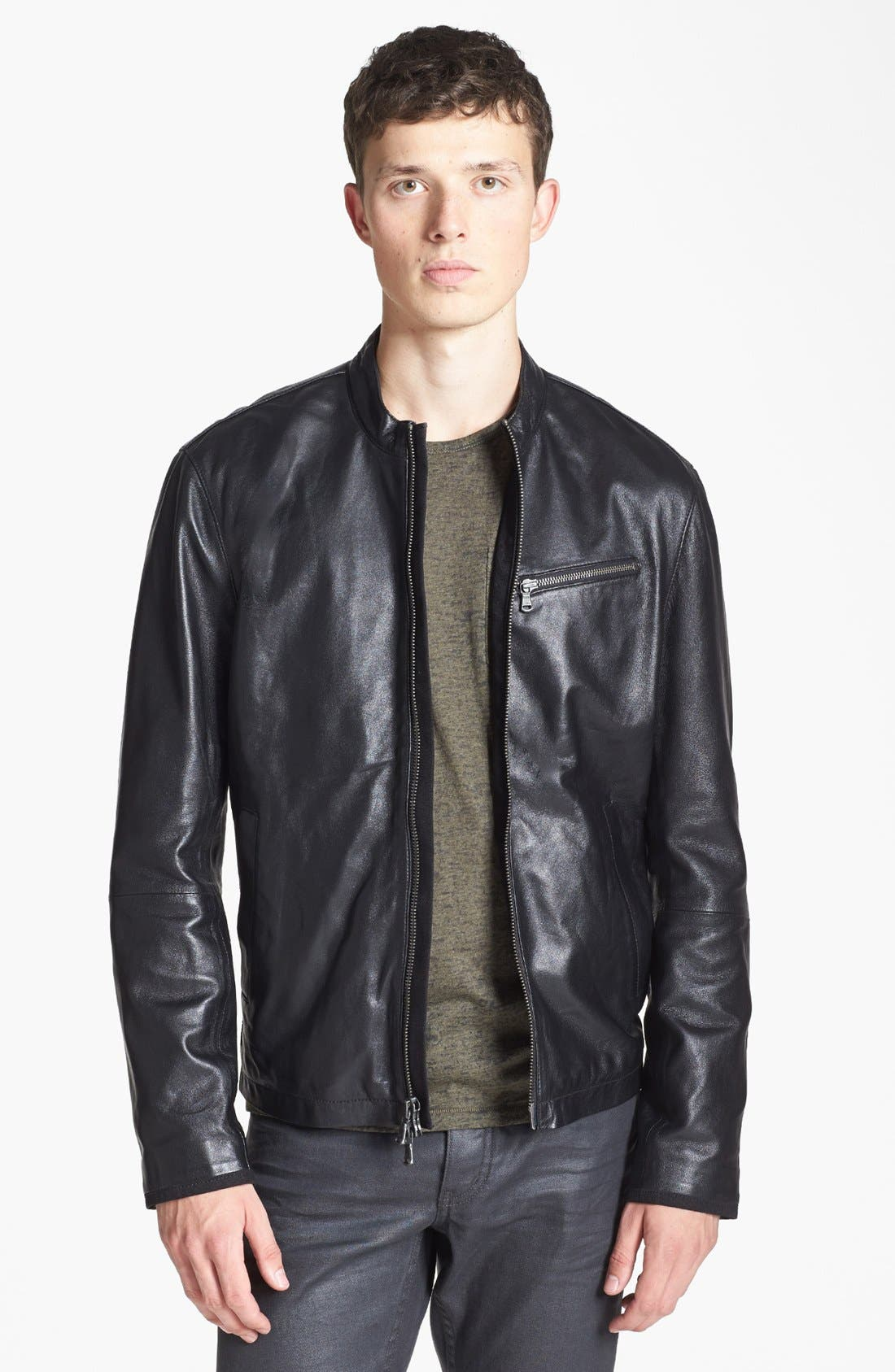 Leather Moto Jacket,                             Main thumbnail 1, color,                             001