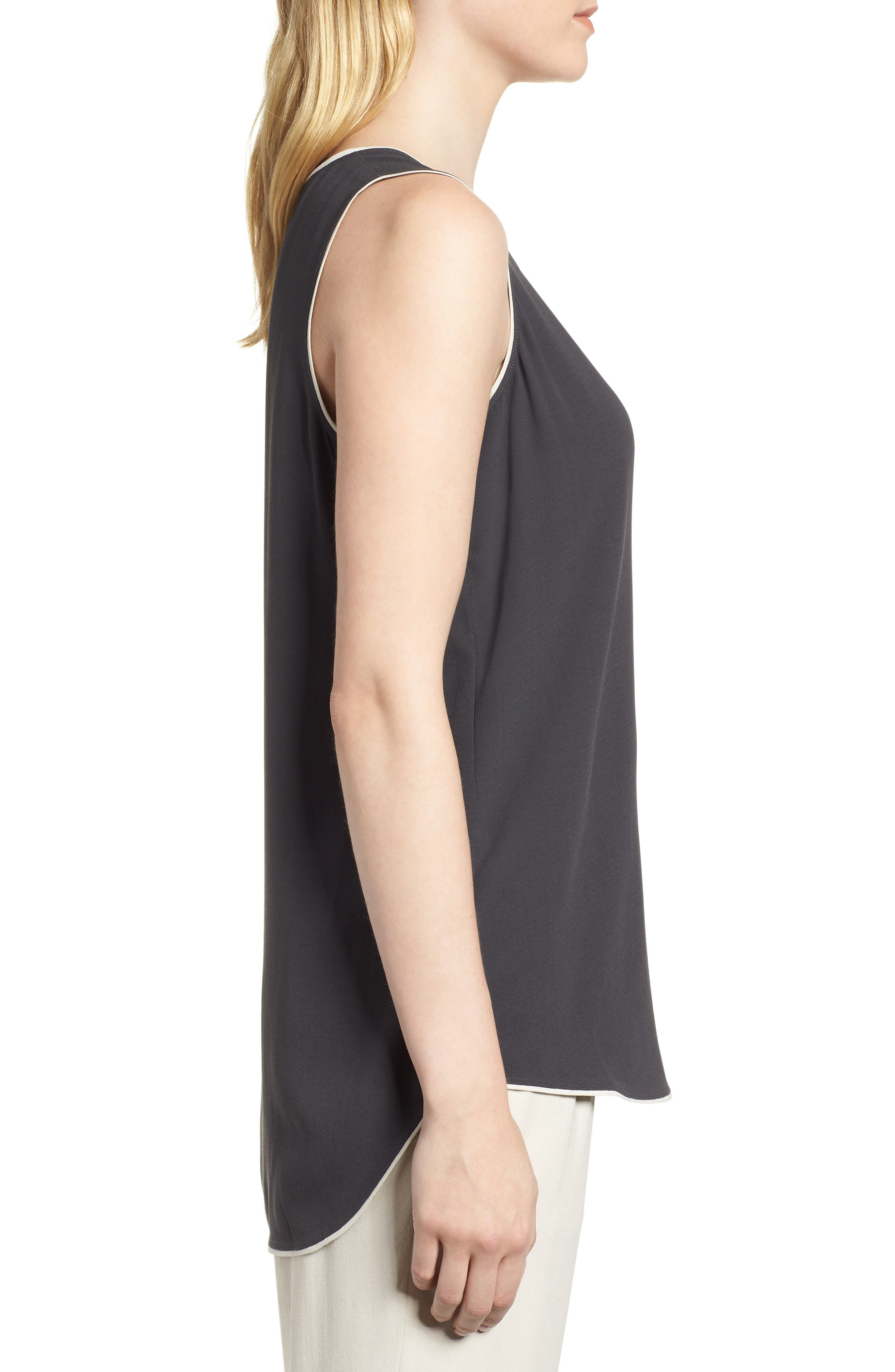 EILEEN FISHER,                             Piped Silk Tank,                             Alternate thumbnail 3, color,                             025