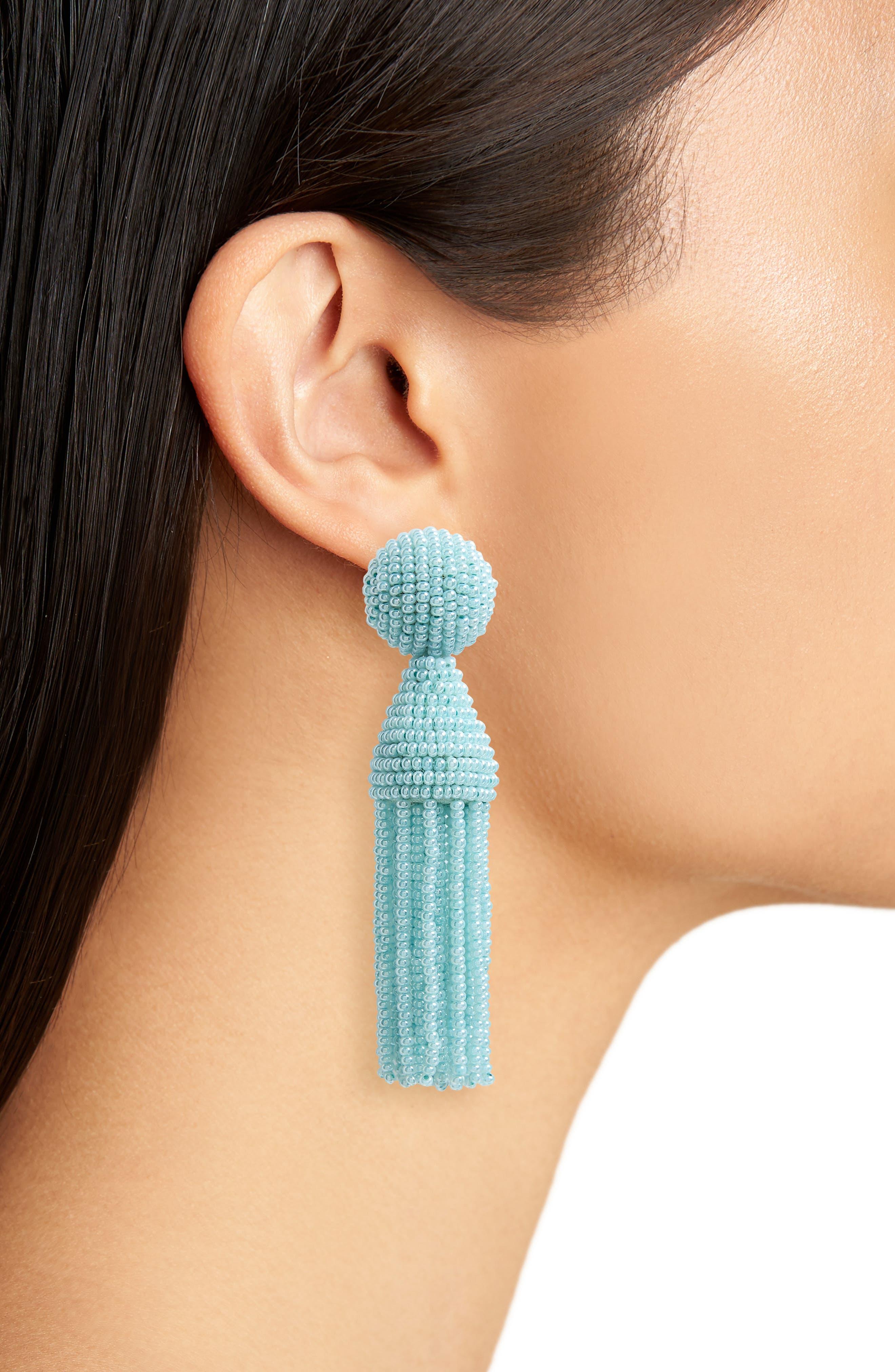 'Classic Short' Tassel Drop Clip Earrings,                             Alternate thumbnail 2, color,                             PISTACHIO