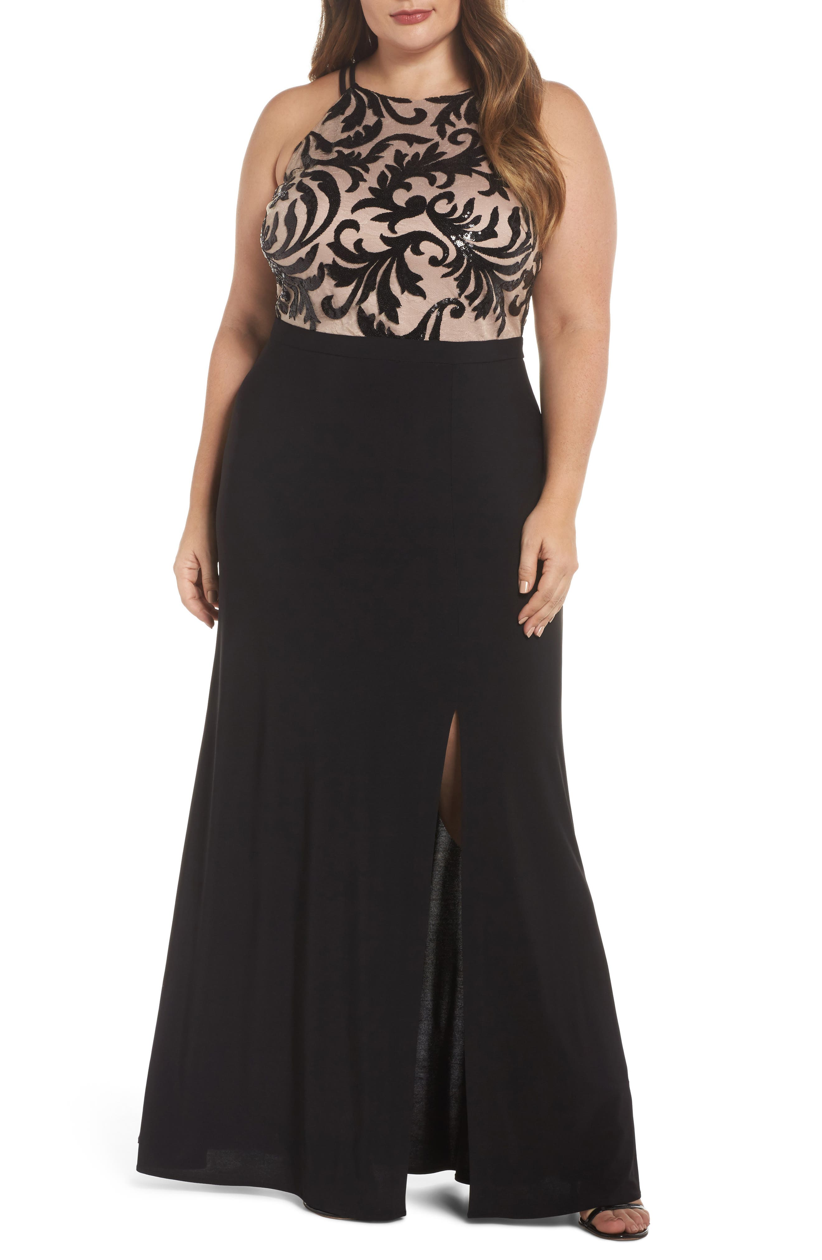Sequin Bodice Gown,                             Main thumbnail 1, color,                             BLACK/ NUDE