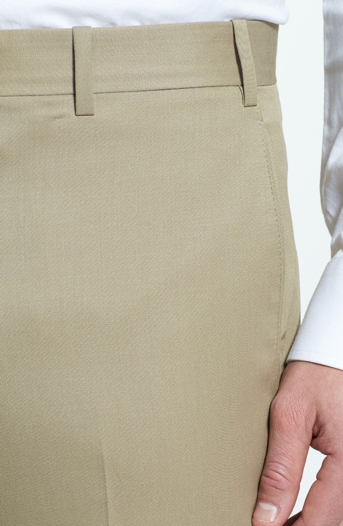 Flat Front Worsted Wool Trousers,                             Alternate thumbnail 30, color,