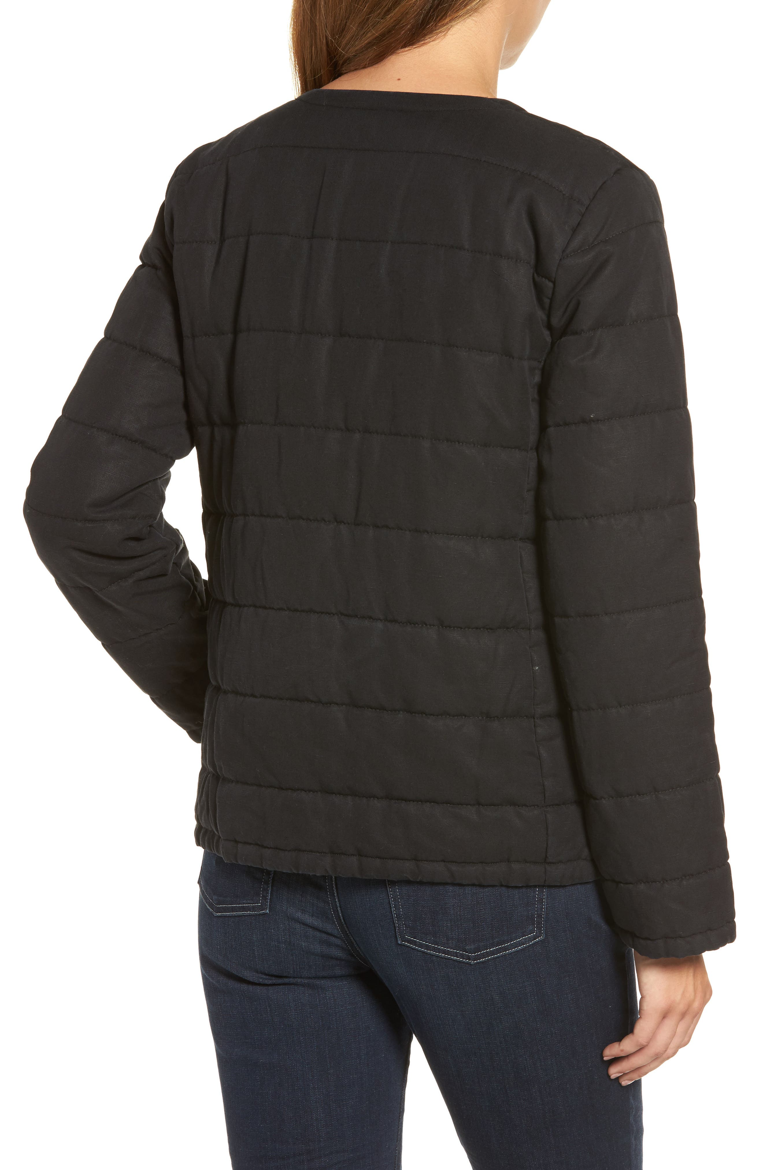 Collarless Quilted Jacket,                             Alternate thumbnail 2, color,                             001