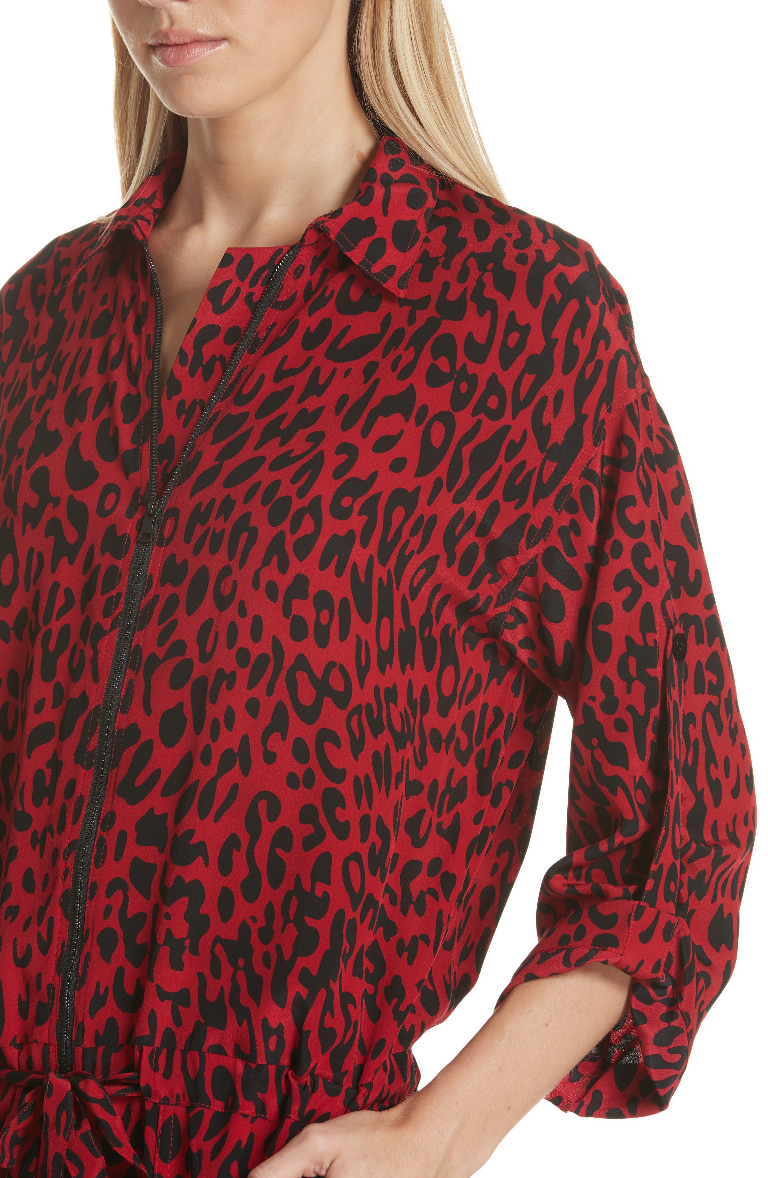 Leopard Print Crop Jumpsuit,                             Alternate thumbnail 4, color,                             600