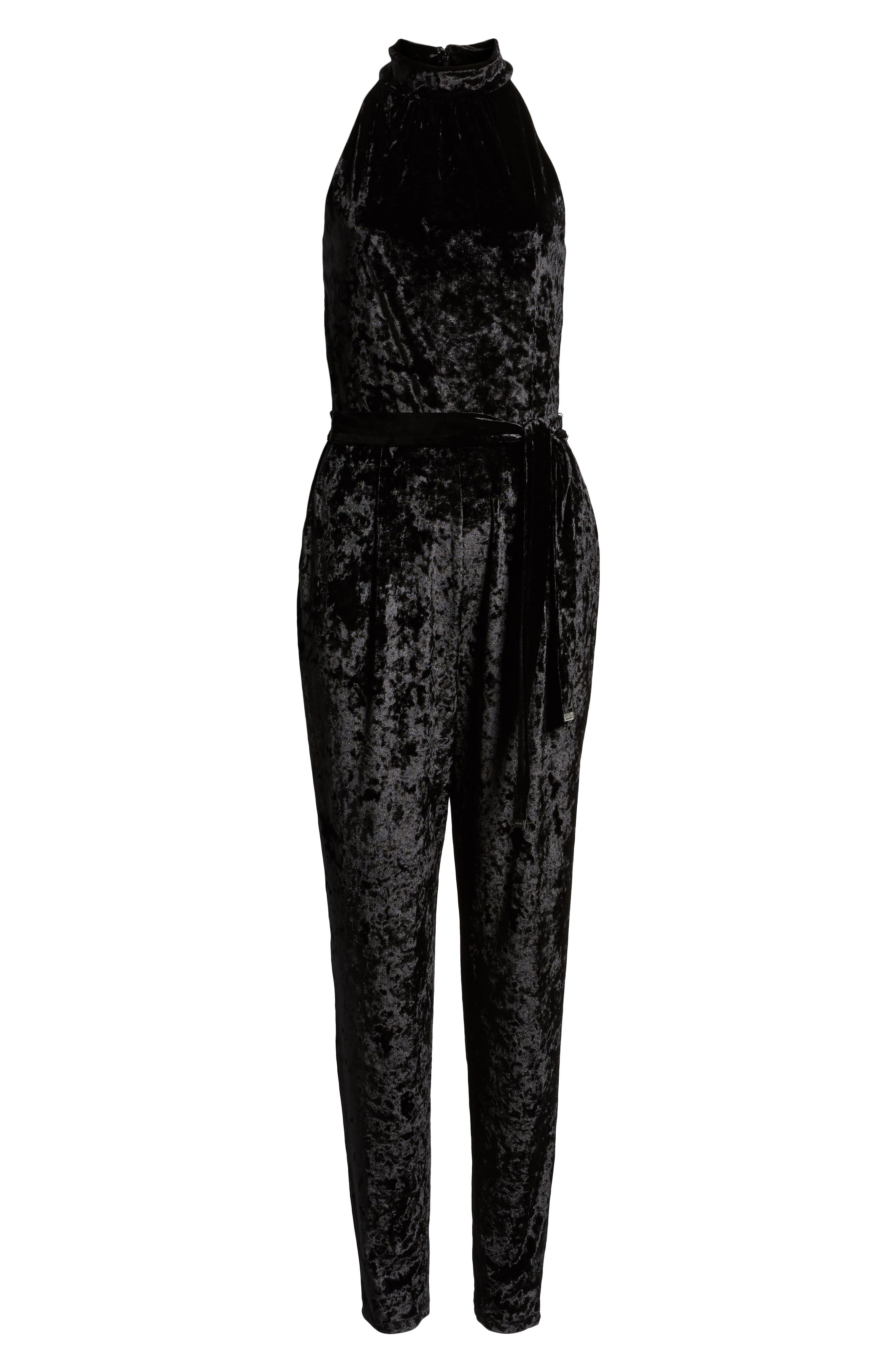 Mock Neck Velvet Jumpsuit,                             Alternate thumbnail 7, color,                             BLACK