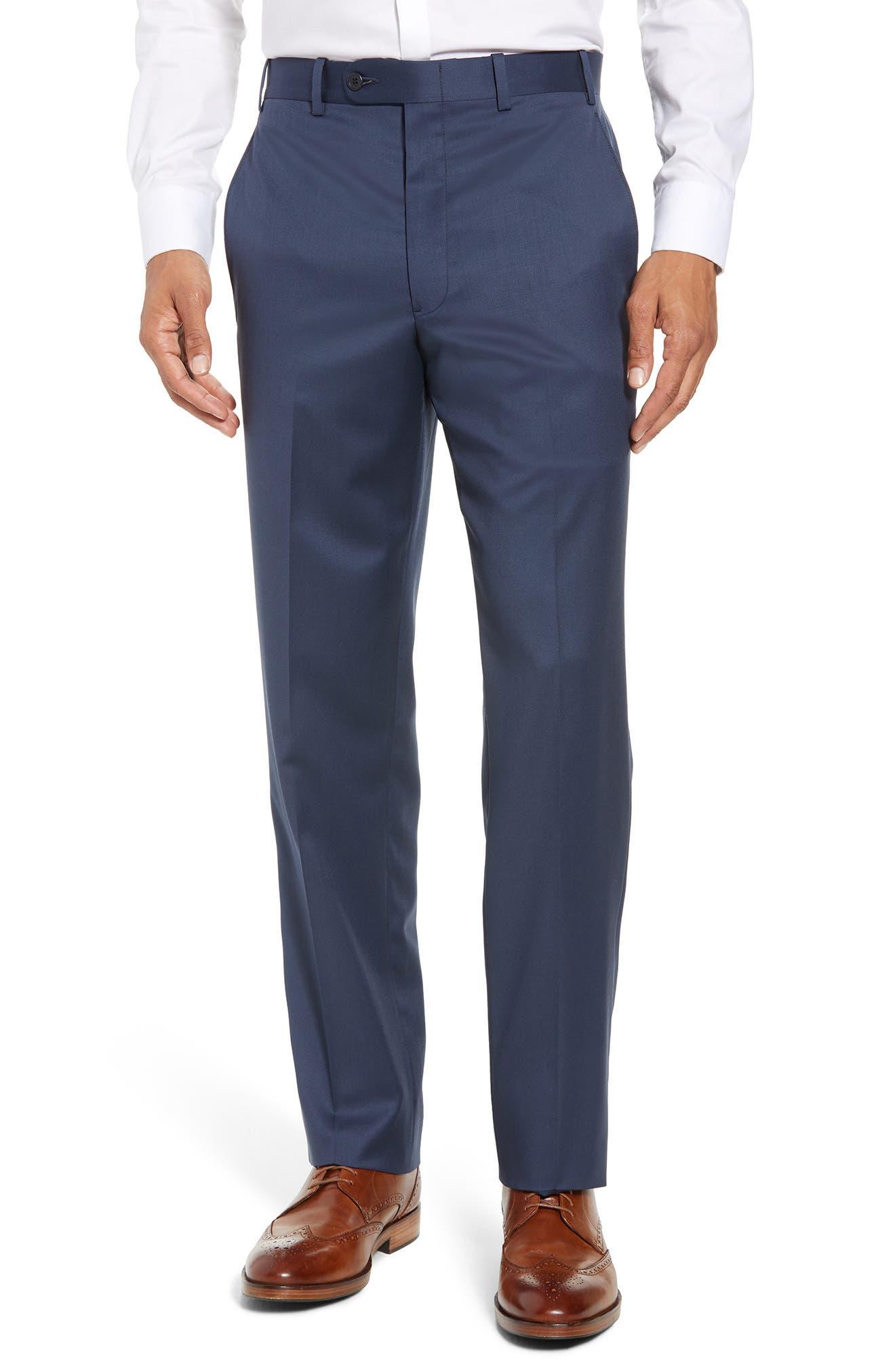Torino Flat Front Wool Gabardine Trousers,                             Main thumbnail 6, color,