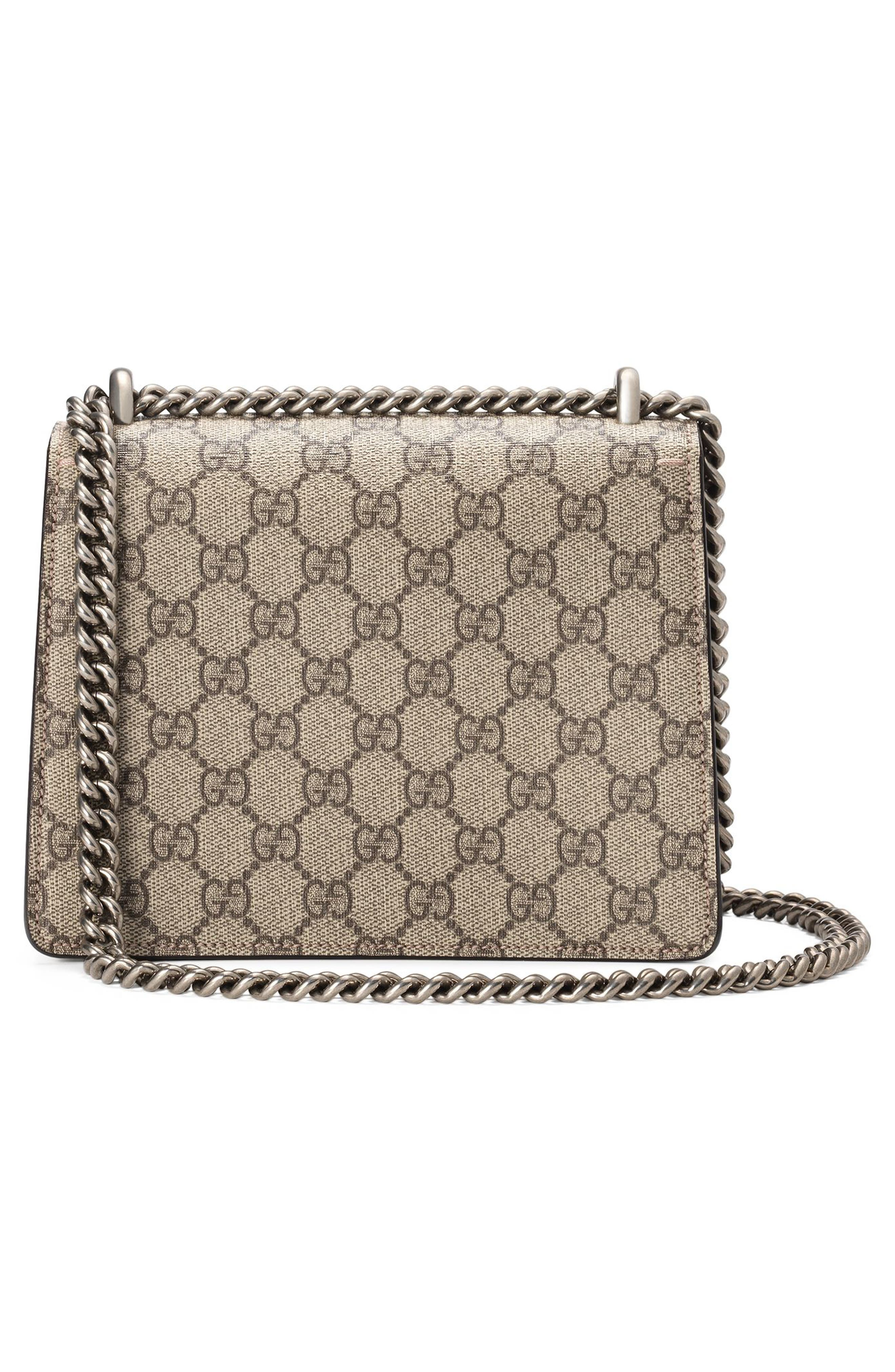 GUCCI,                             Mini Dionysus GG Supreme Shoulder Bag,                             Alternate thumbnail 3, color,                             BEIGE EBONY/ TAUPE