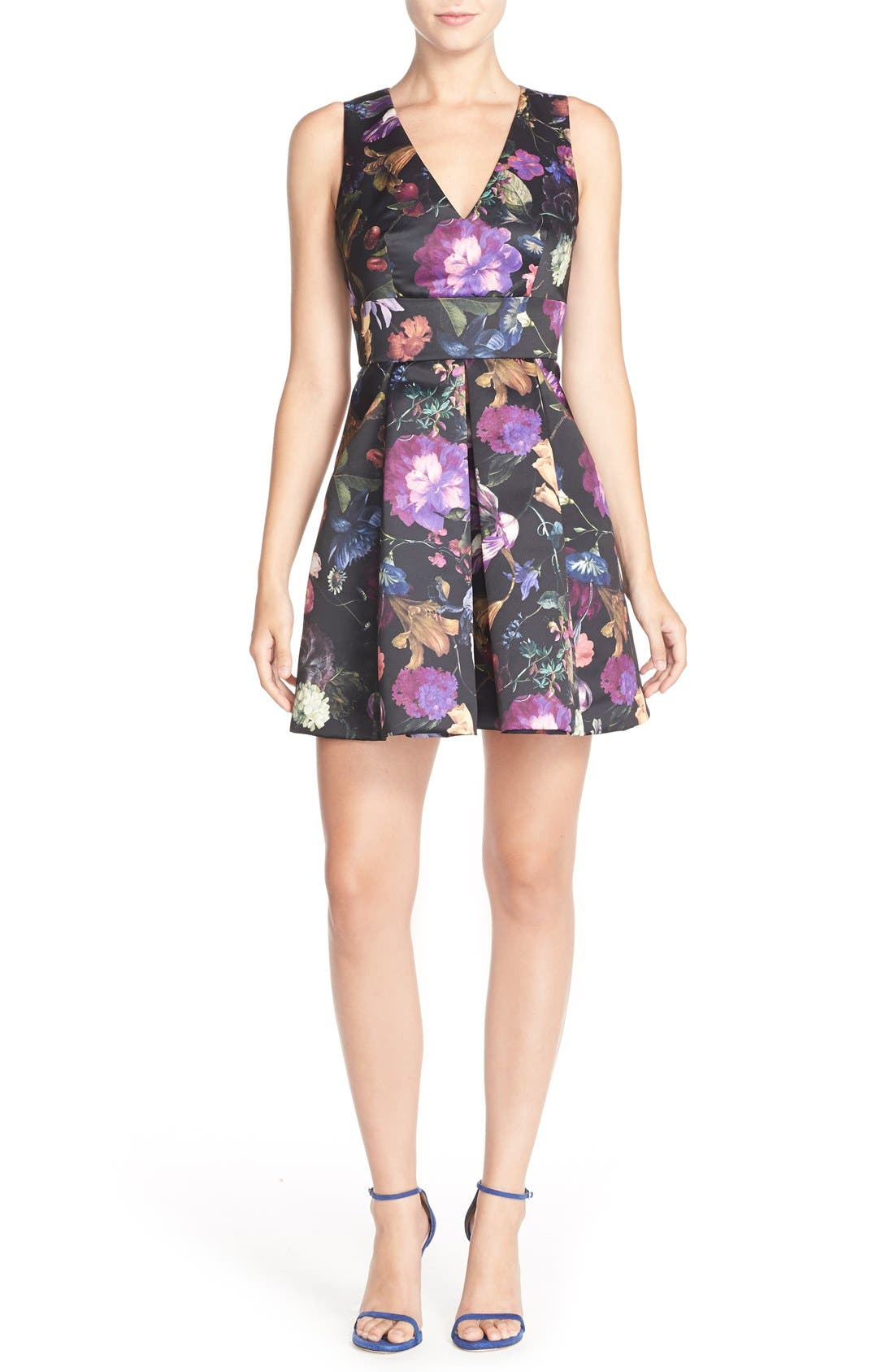 Cythia Rowley 'Winter' Floral Print Woven Fit & Flare Dress,                             Alternate thumbnail 5, color,                             009