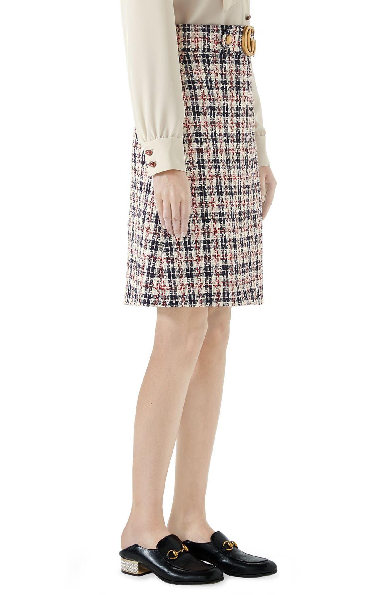 Tweed A-Line Skirt,                             Alternate thumbnail 3, color,                             GARDENIA/ INK