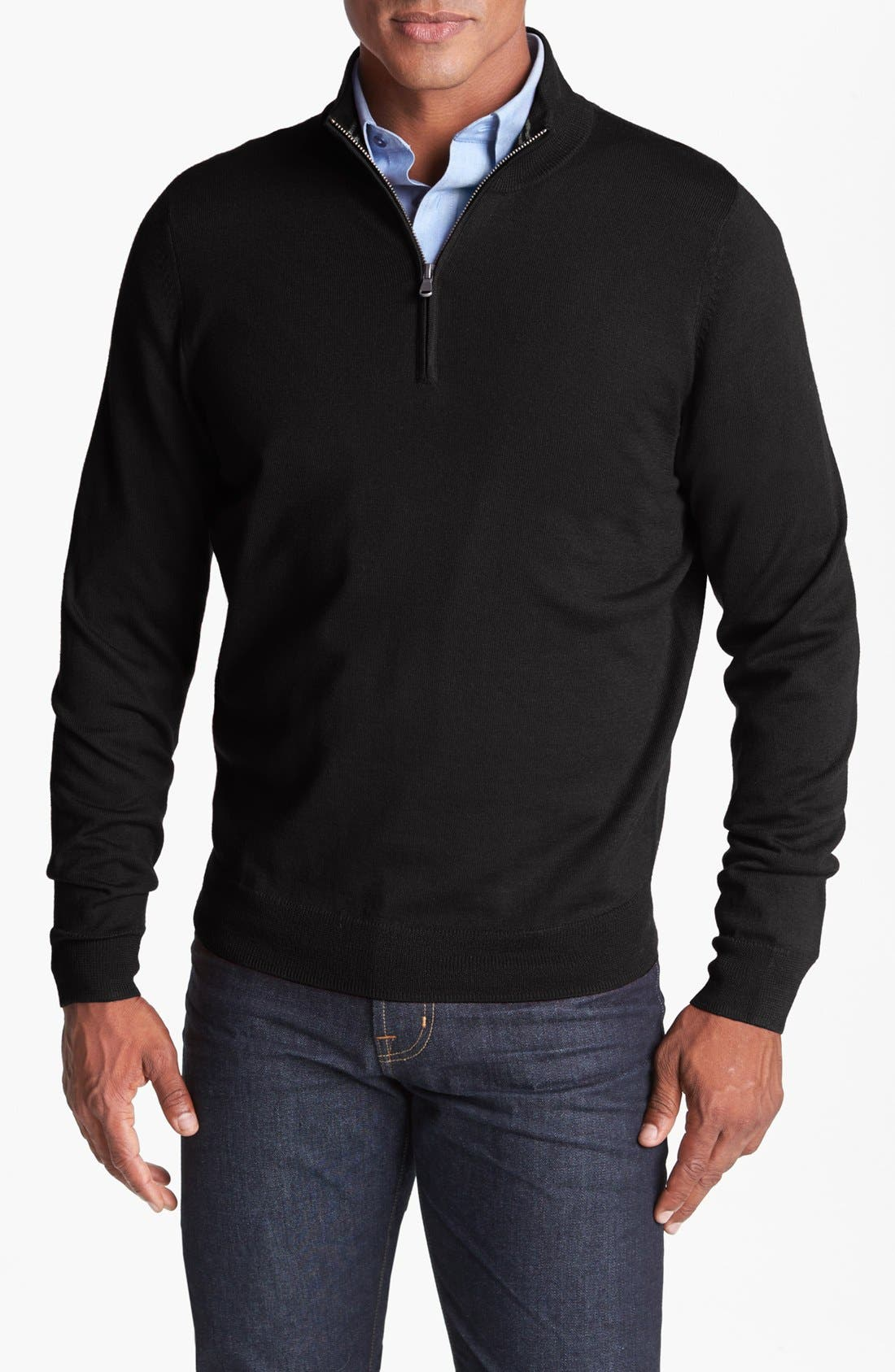 NORDSTROM MEN'S SHOP,                             Half Zip Merino Wool Sweater,                             Main thumbnail 1, color,                             001