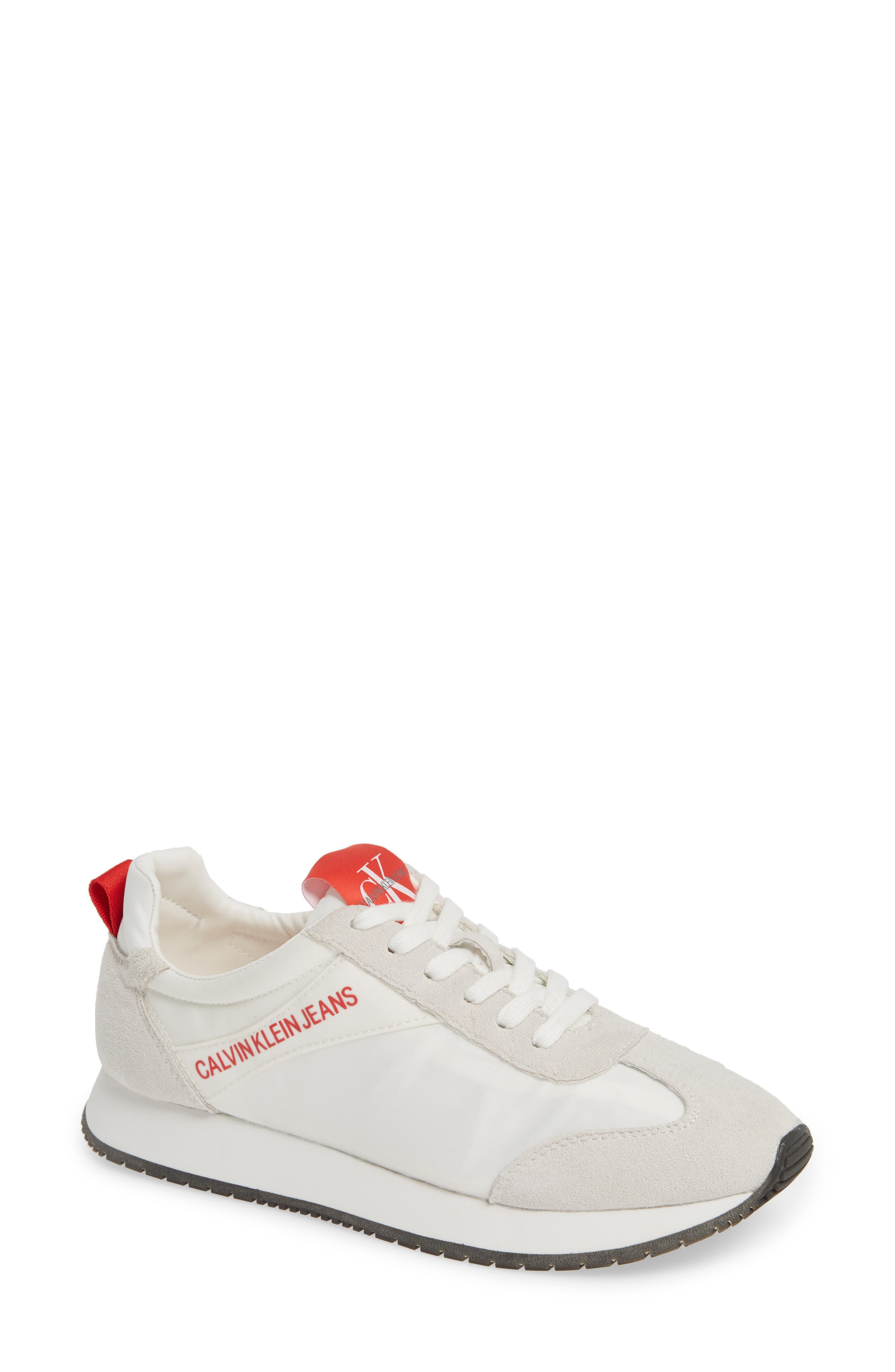 Jill Lace-Up Sneaker in Bright White/ Suede