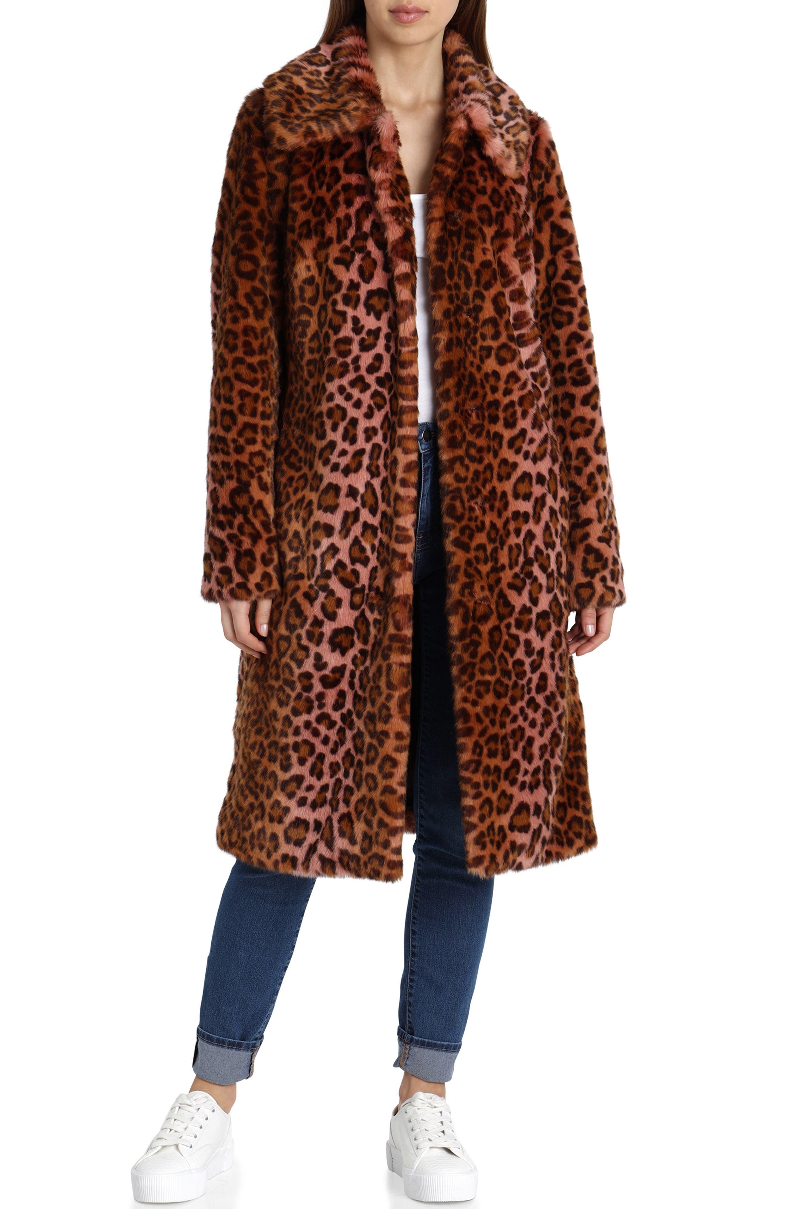 Leopard Print Faux Fur Car Coat,                         Main,                         color, PINK LEOPARD