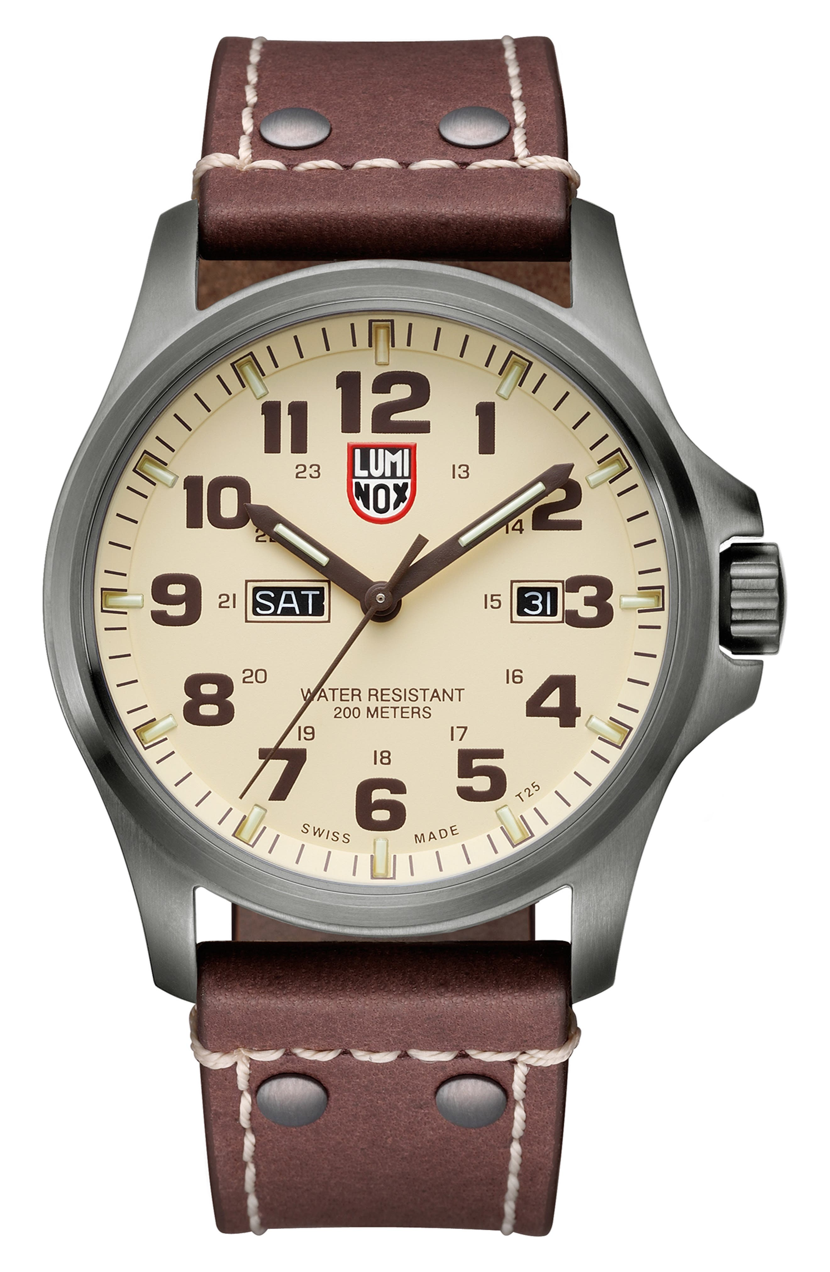 'Land - Atacama Field' Leather Strap Watch, 45mm,                             Alternate thumbnail 14, color,