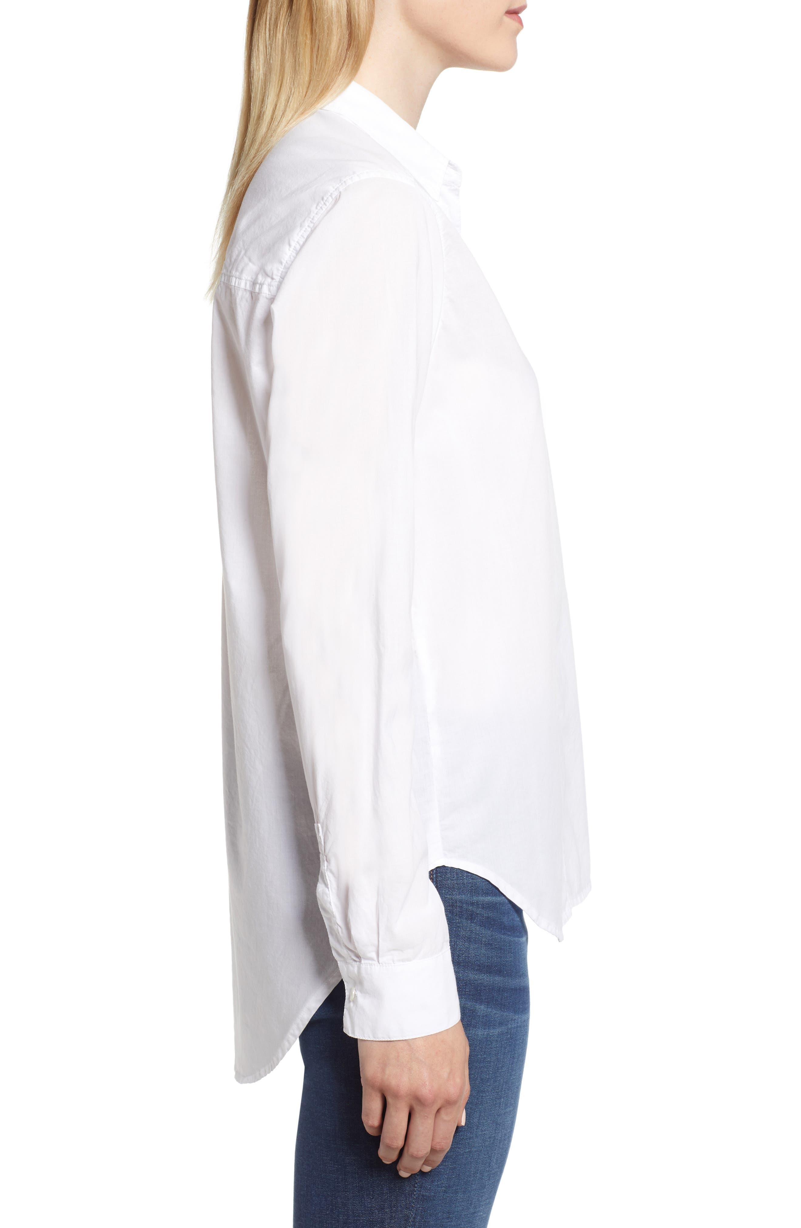 Ribbon Placket Cotton Button Up Shirt,                             Alternate thumbnail 3, color,                             WHITE
