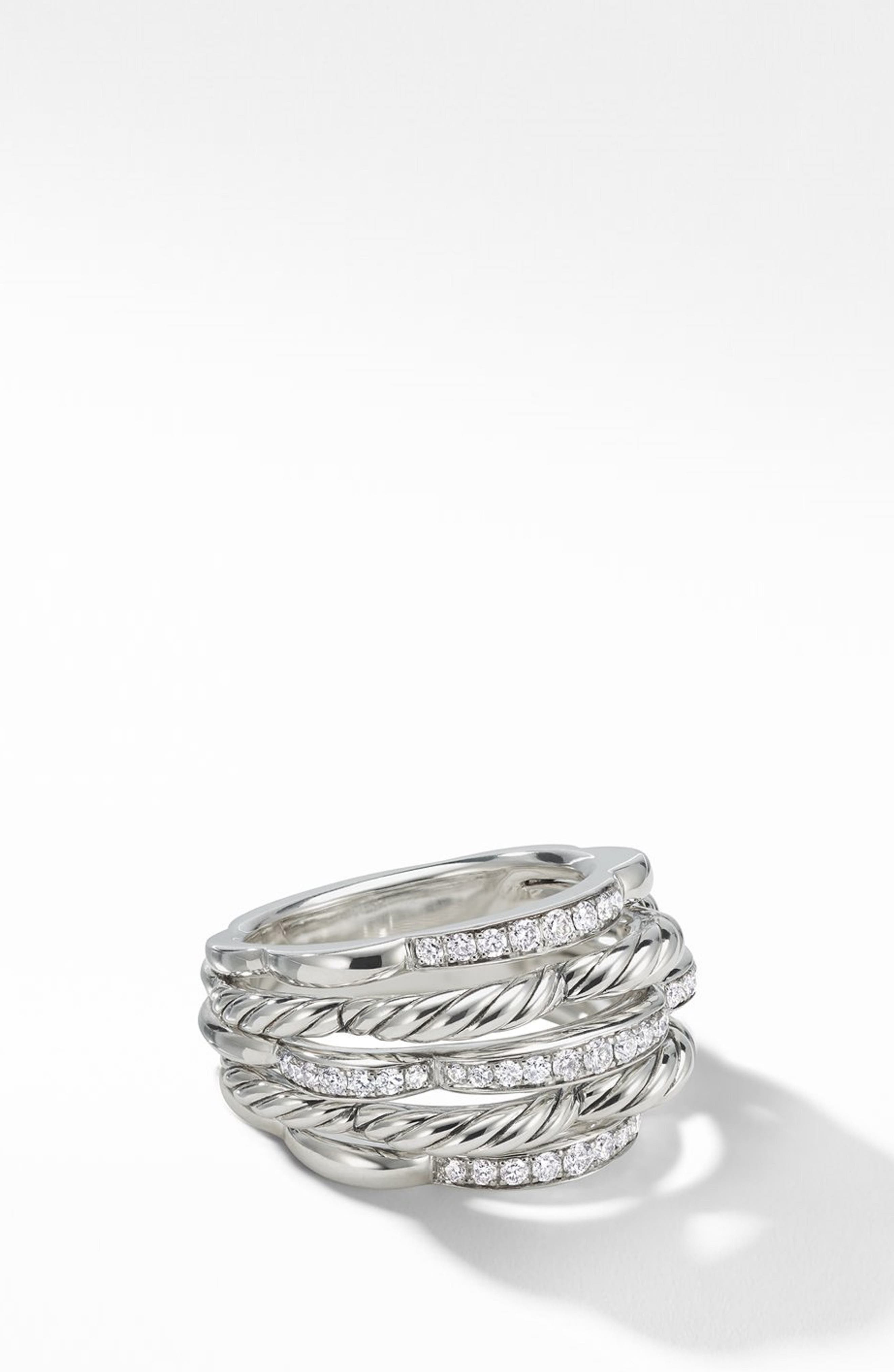 Tides Dome Ring with Diamonds,                             Main thumbnail 1, color,                             STERLING SILVER/ DIAMOND