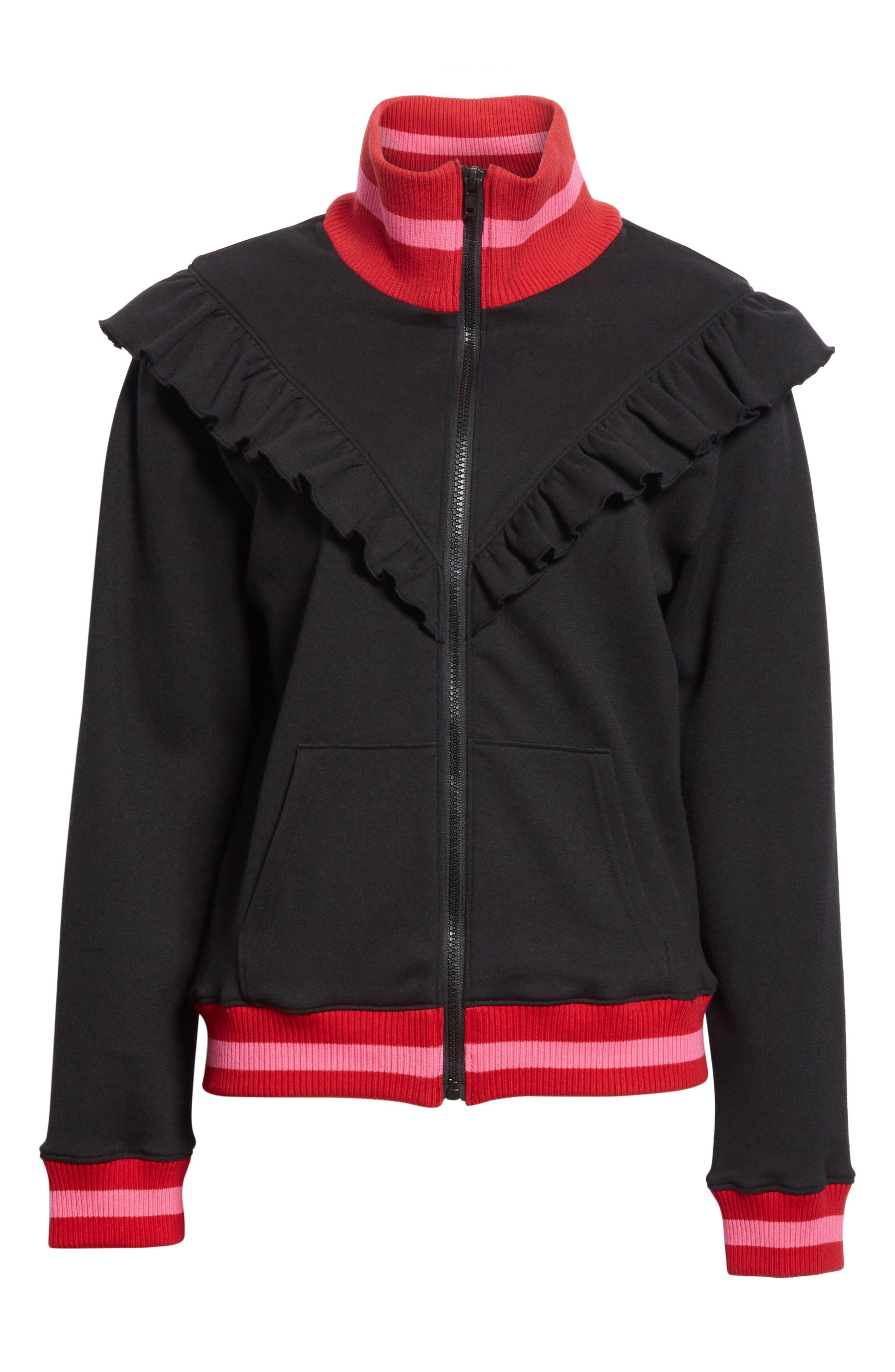 Deetra Rib Knit Trim Jacket,                             Alternate thumbnail 5, color,