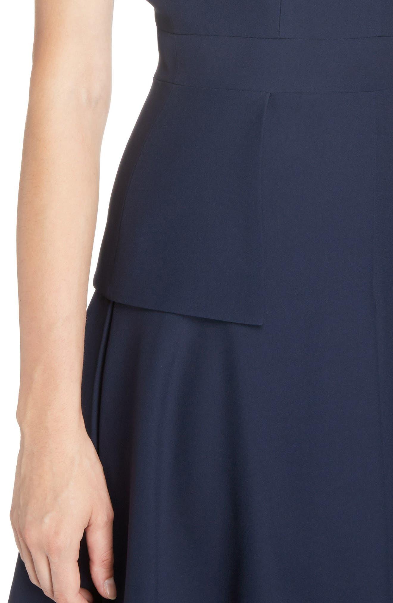 Leaf Crepe Fit & Flare Dress,                             Alternate thumbnail 4, color,                             403