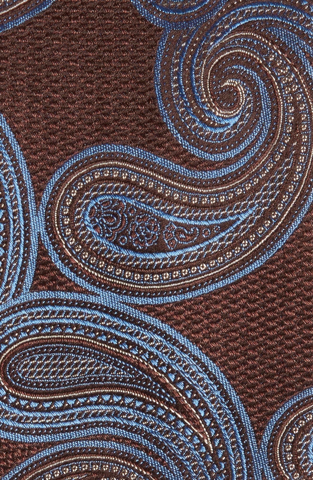 Sardonia Paisley Silk Tie,                             Alternate thumbnail 2, color,                             BROWN