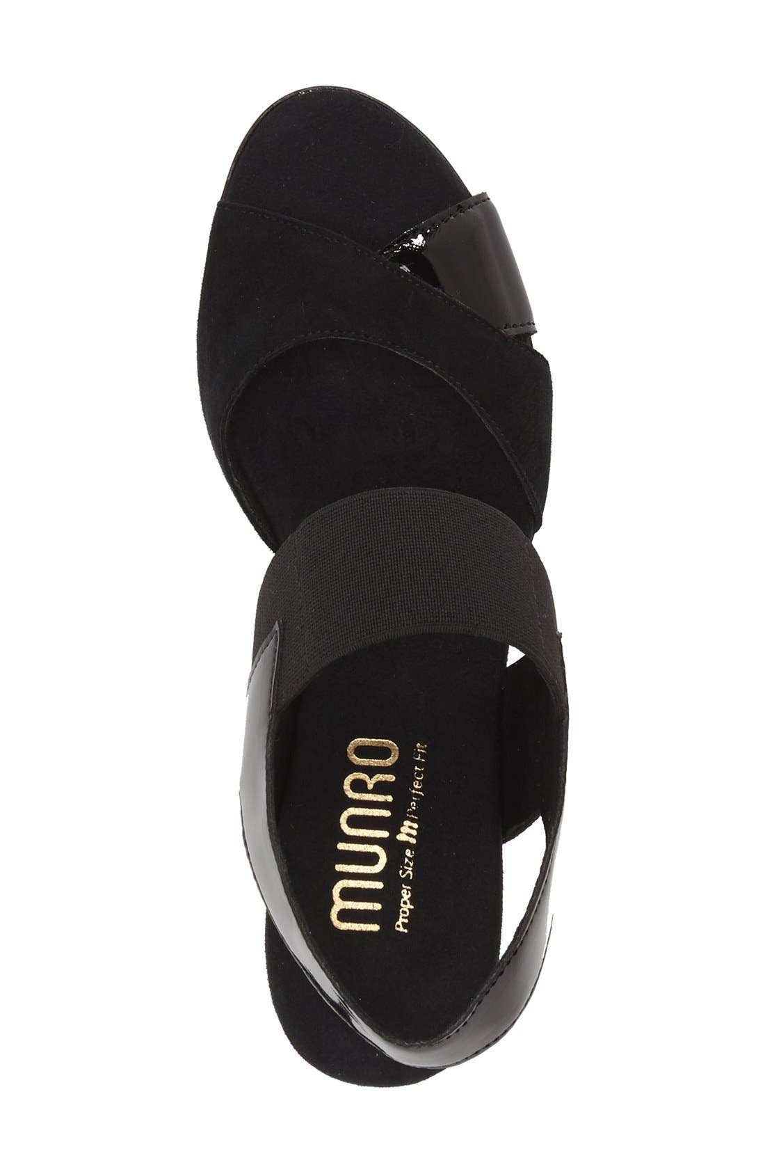 MUNRO,                             Darling Mixed Finish Slingback Sandal,                             Alternate thumbnail 5, color,                             BLACK COMBO